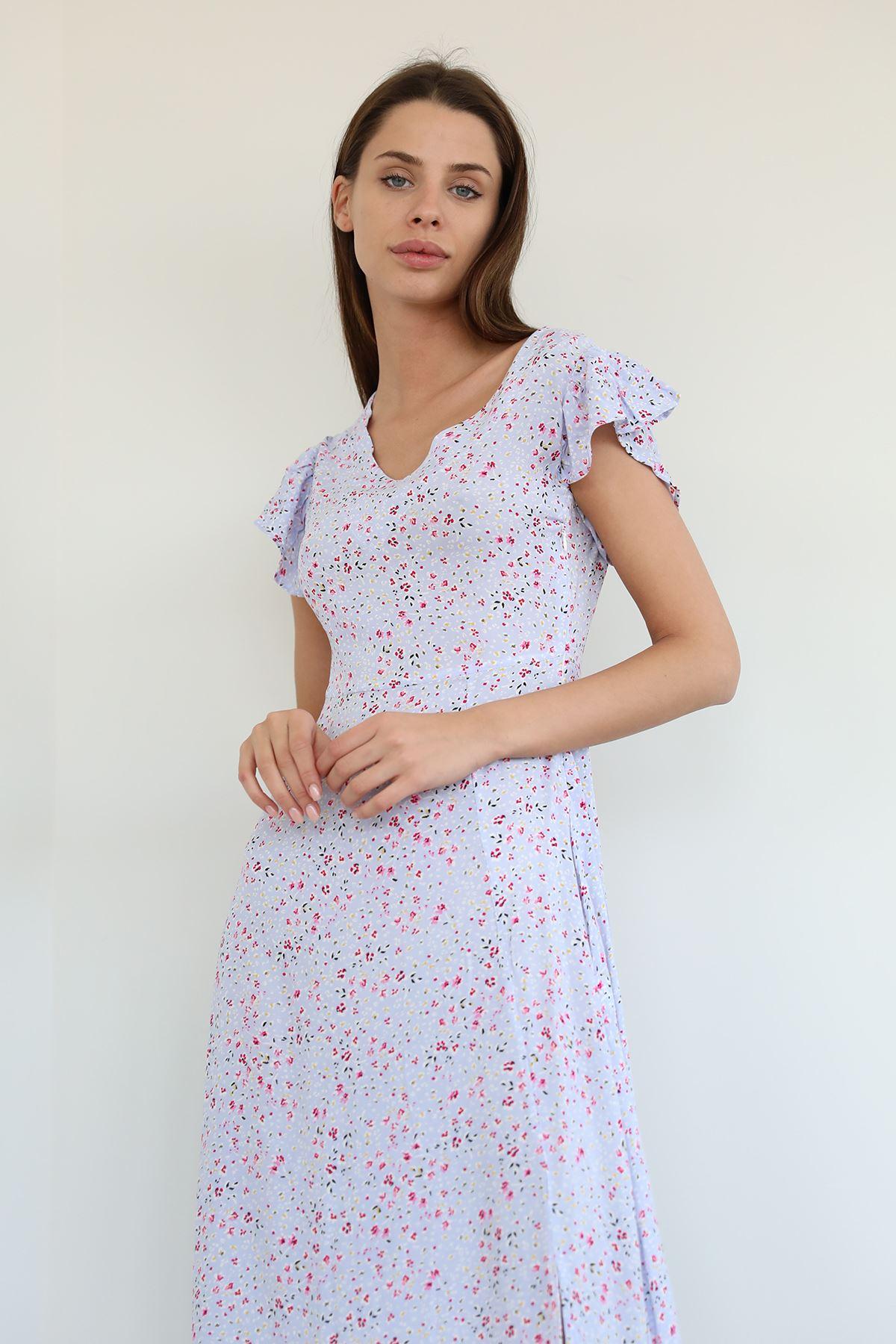 V Yaka Uzun Elbise-Lila