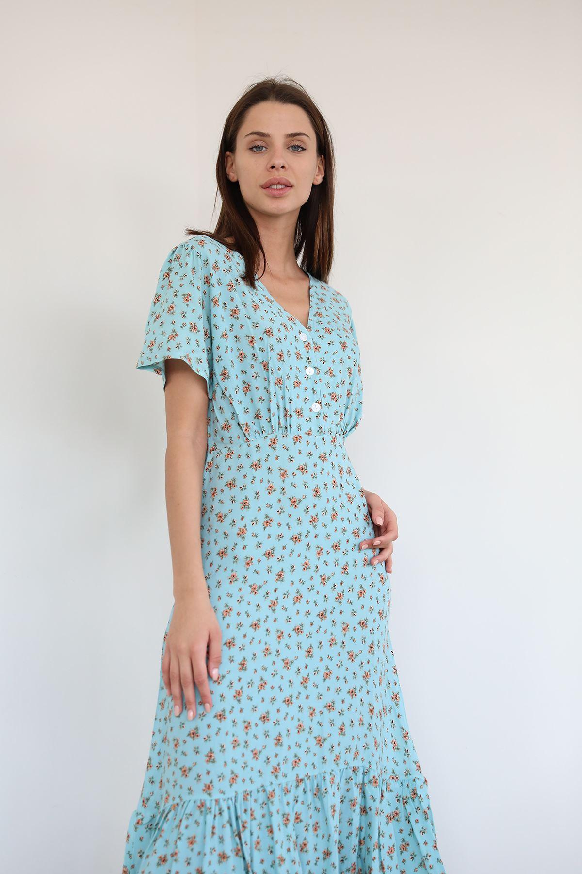 Düğmeli Salaş Elbise-Mint