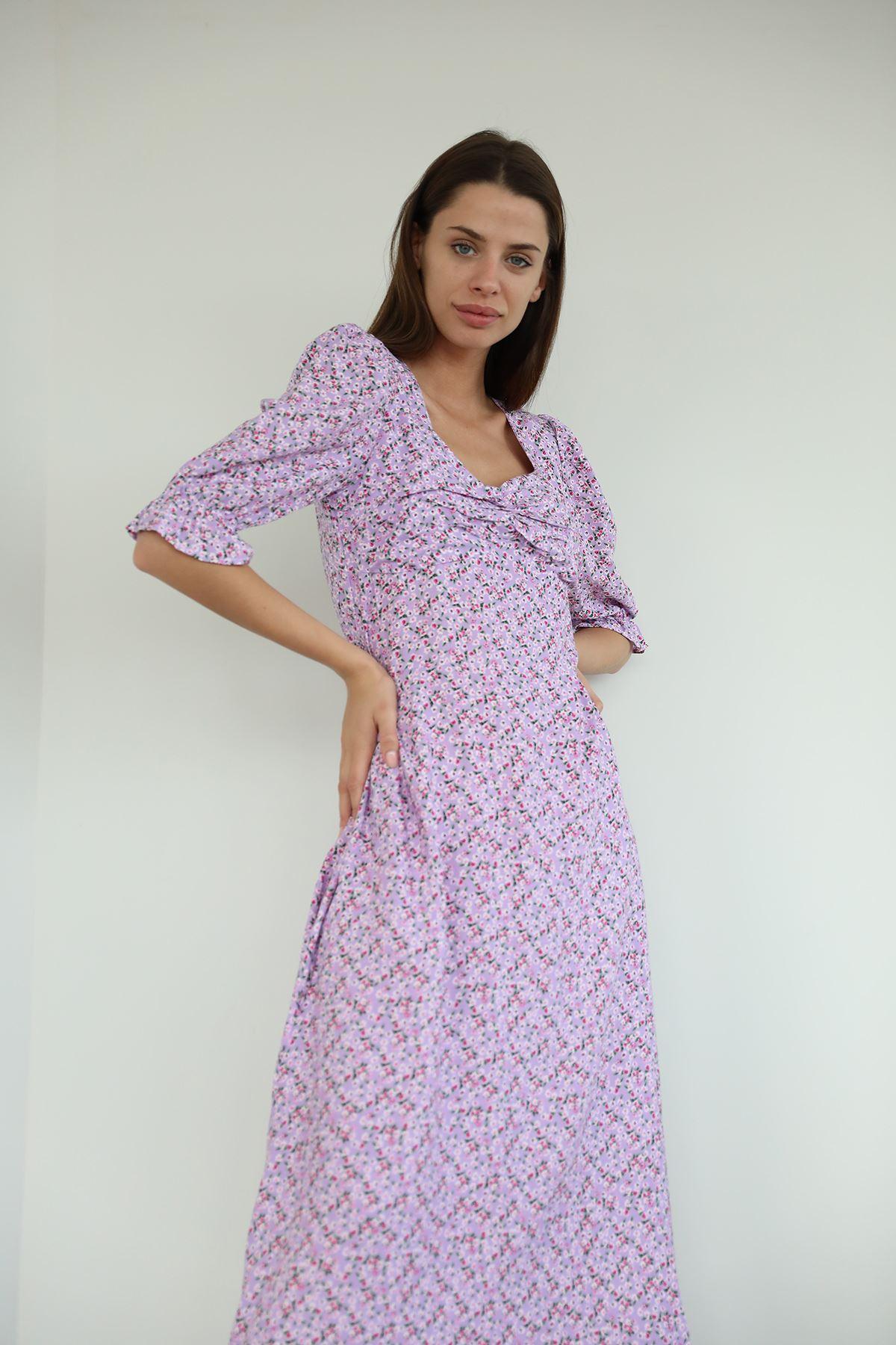 Büzgü Detay Uzun Elbise-Lila