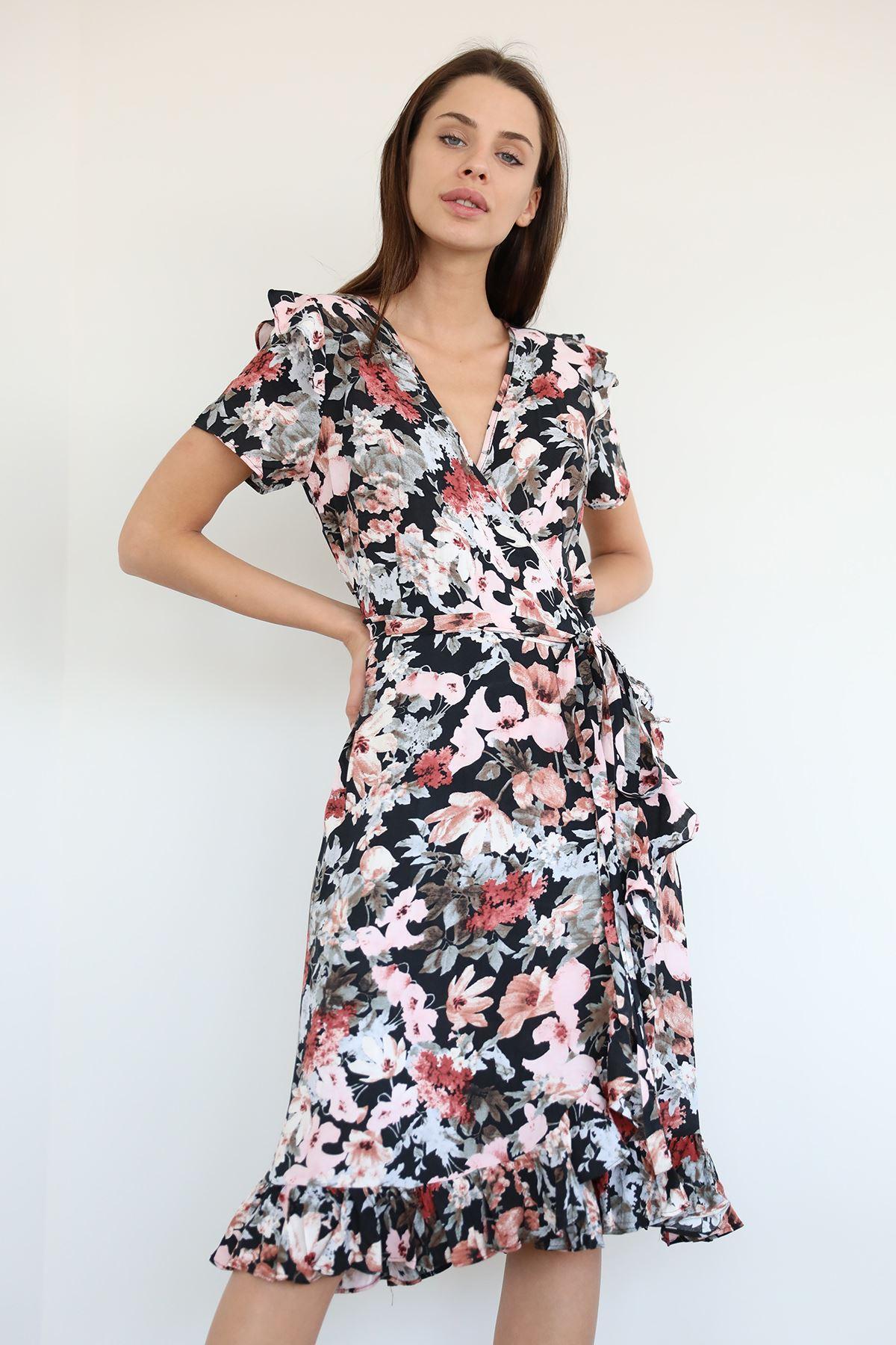 Desenli Kuşaklı Elbise-Siyah