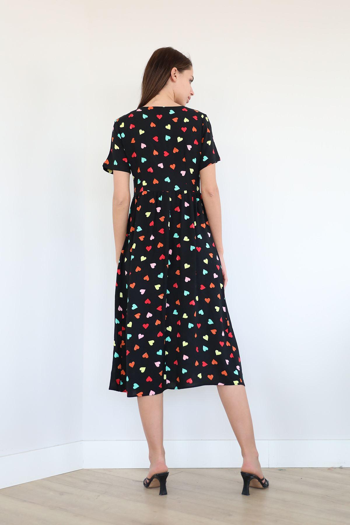 Kalp Desen Kuşaklı Elbise-Siyah