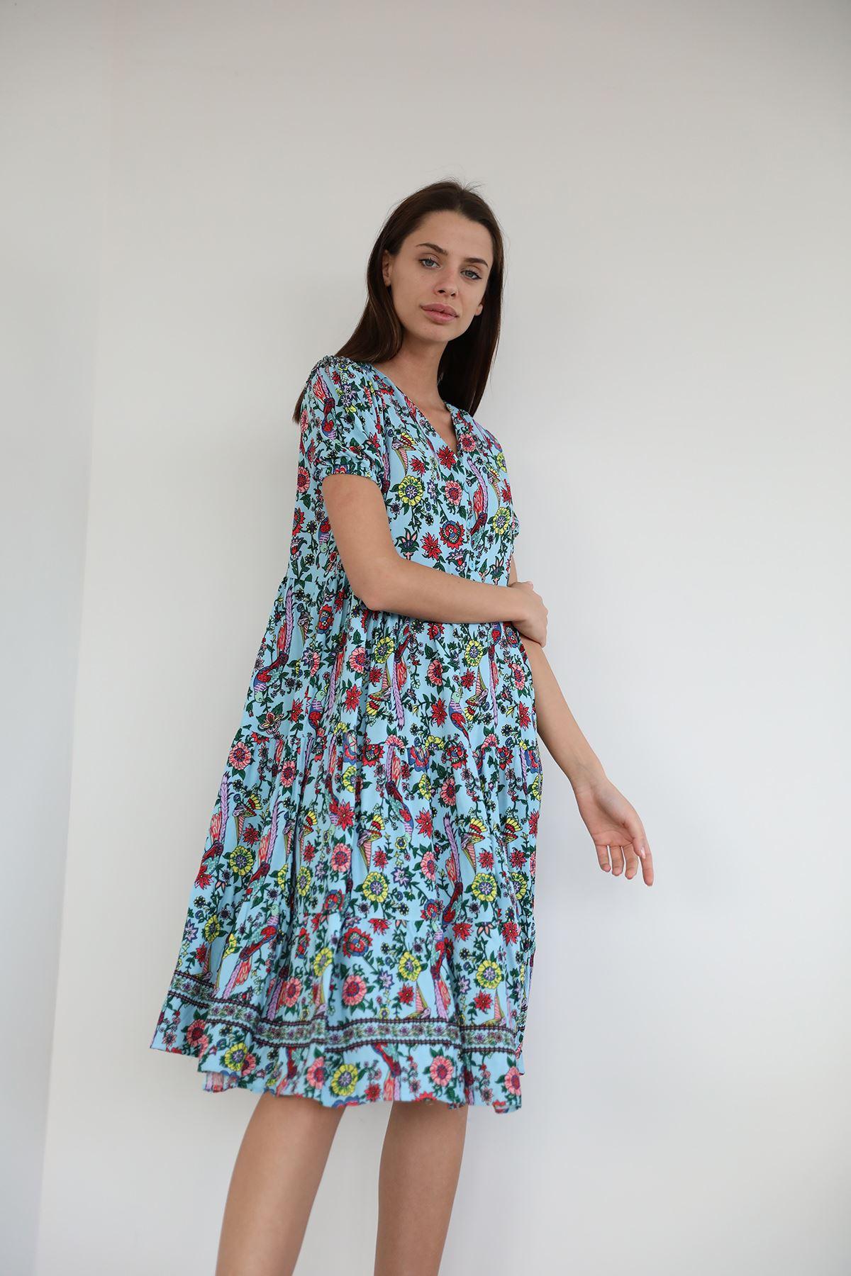 Şal Desen Salaş Elbise-Mavi