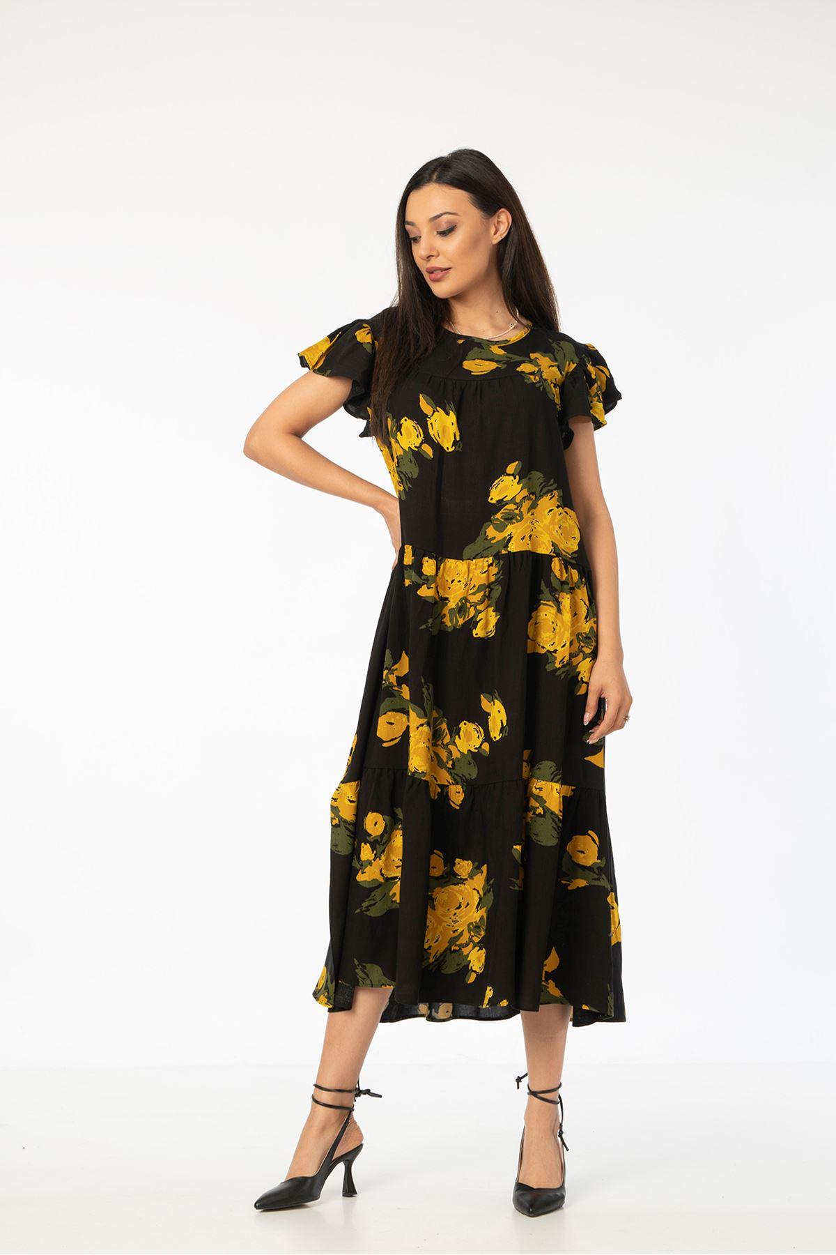 Gül Desen Salaş Elbise-Sarı