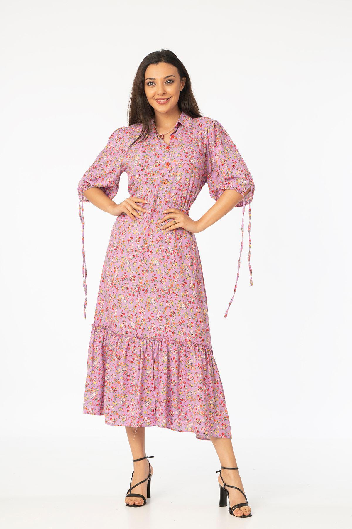 Desenli Midi Elbise-Pudra