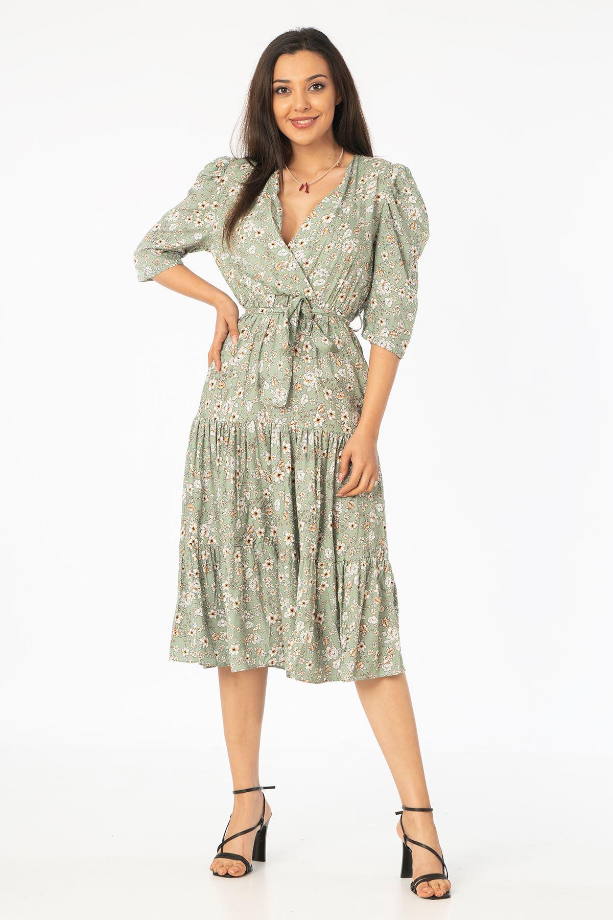 V Yaka Kuşaklı Elbise-Haki