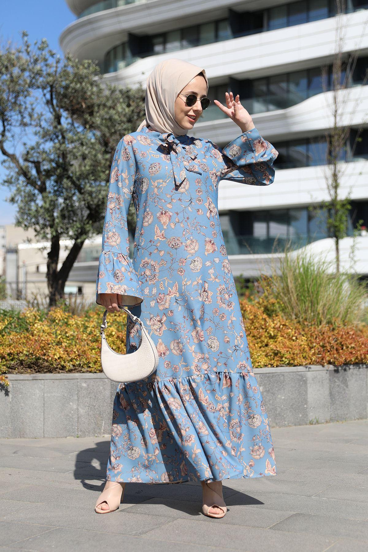 Fırfır Detay Desenli Elbise-Mavi