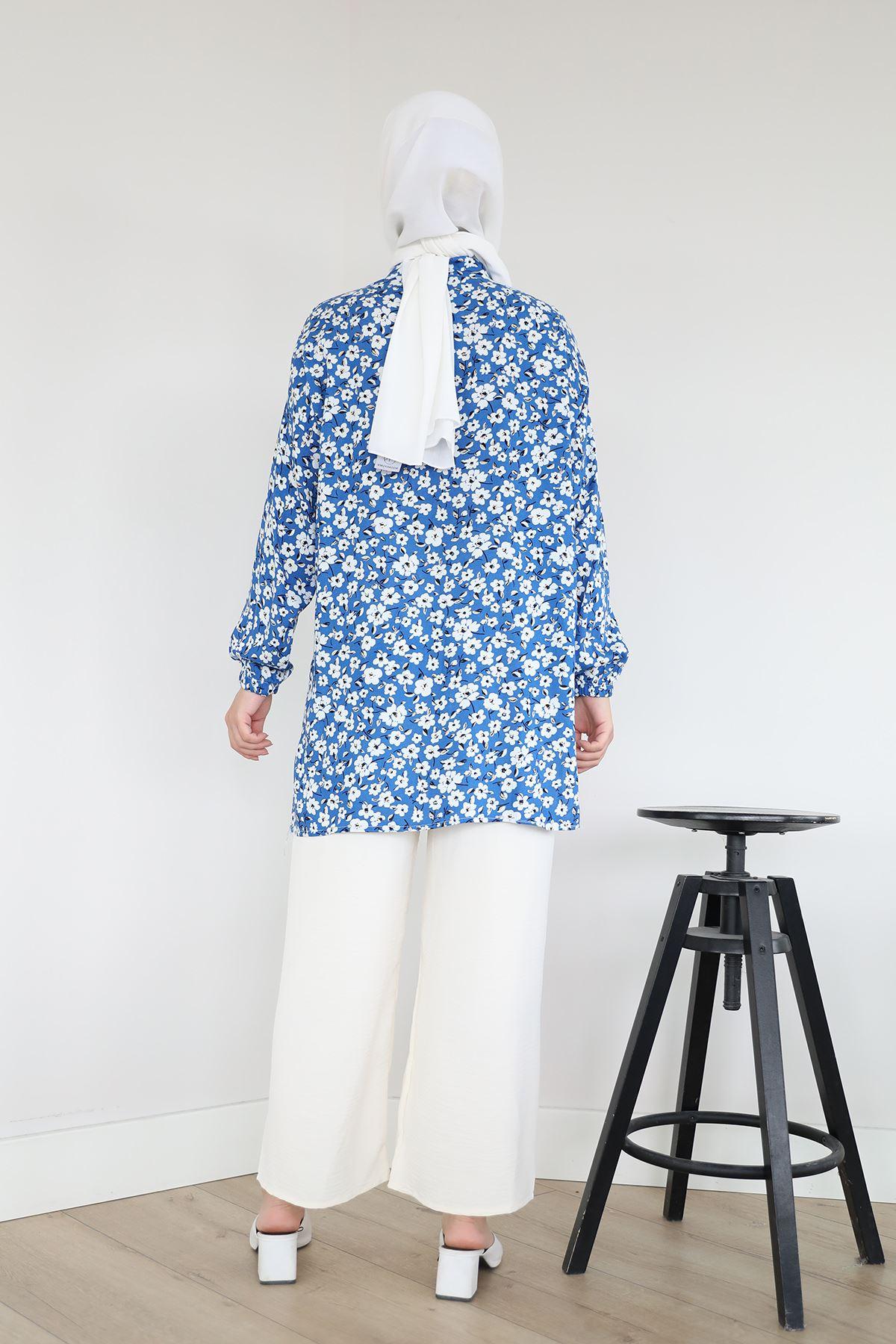 Çiçek Desen Gömlek-Saks
