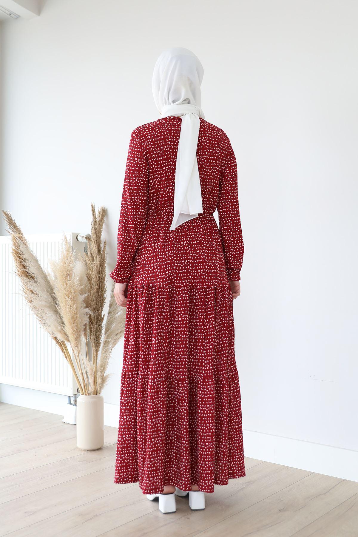 Desenli Elbise-Bordo