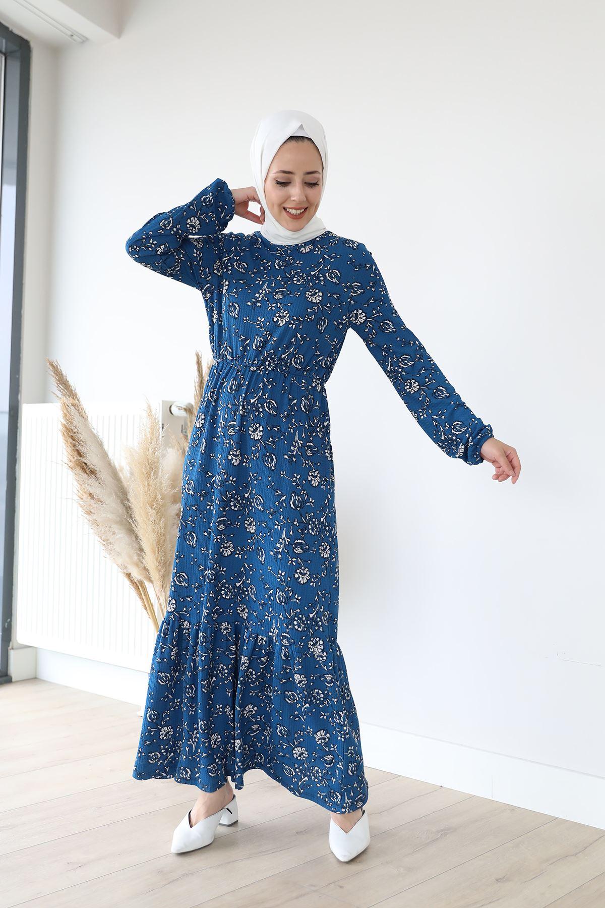 Eteği Fırfırlı Elbise-İndigo
