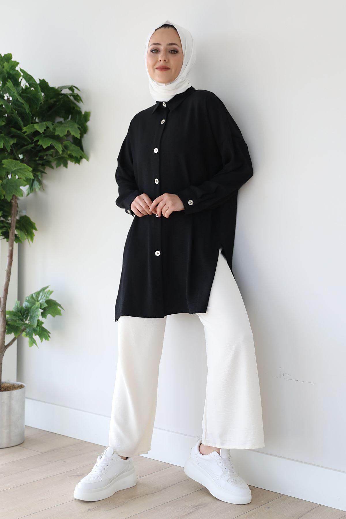 Düğmeli Gömlek-Siyah