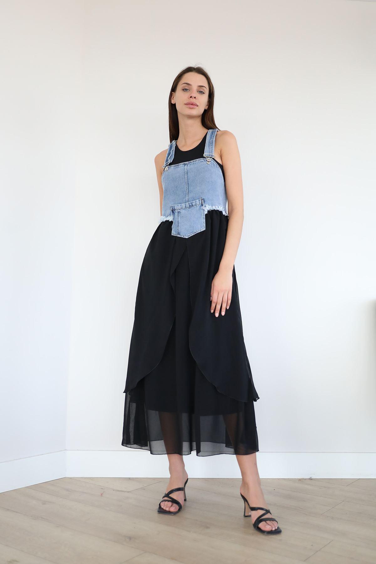 Kot Detay Elbise-Siyah