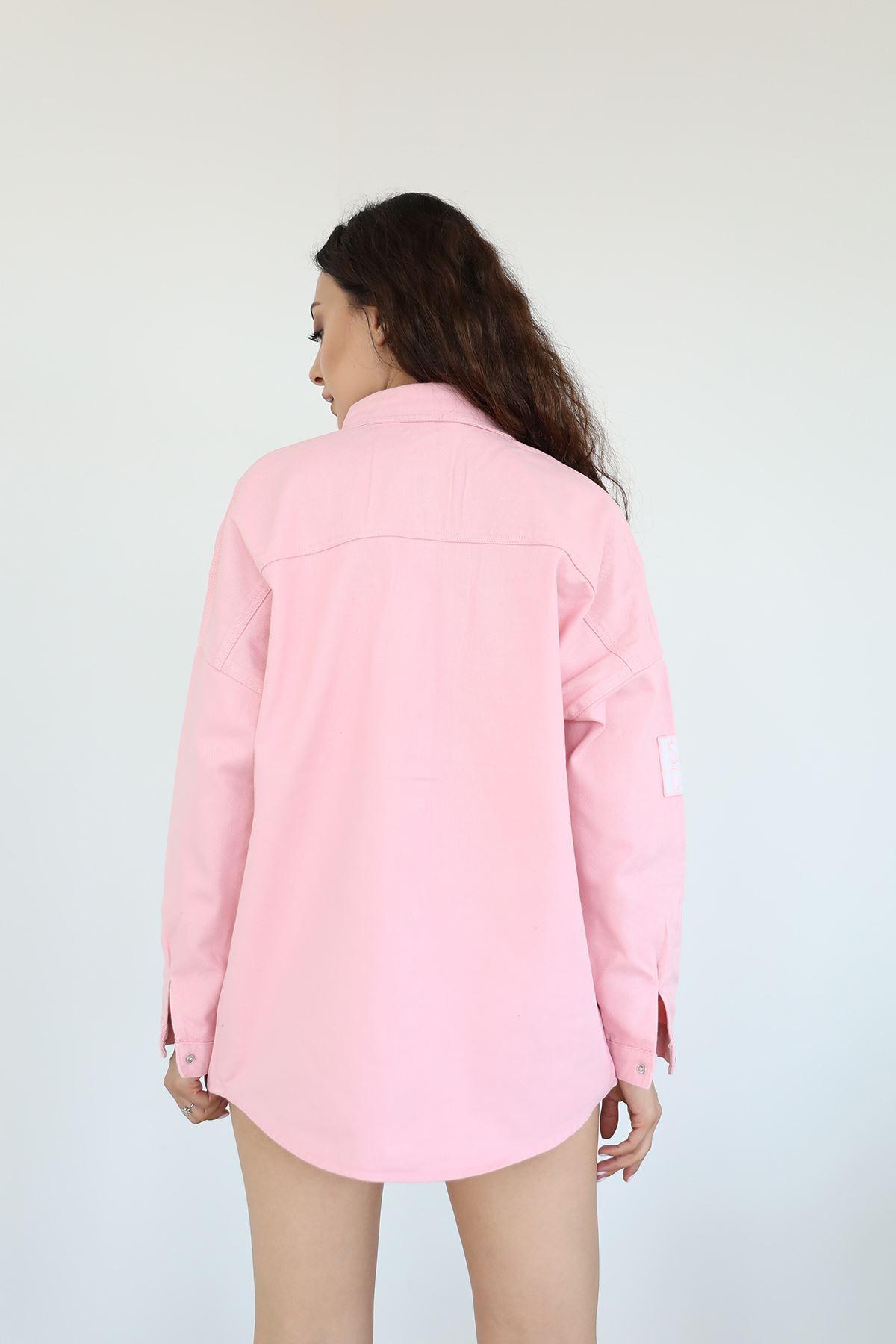 Cepli Yırtık Detay Kot Ceket-Pembe