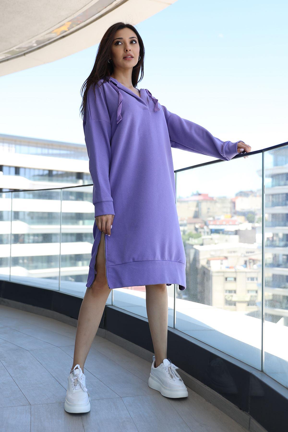 Kapşonlu Sweat Elbise-Lila