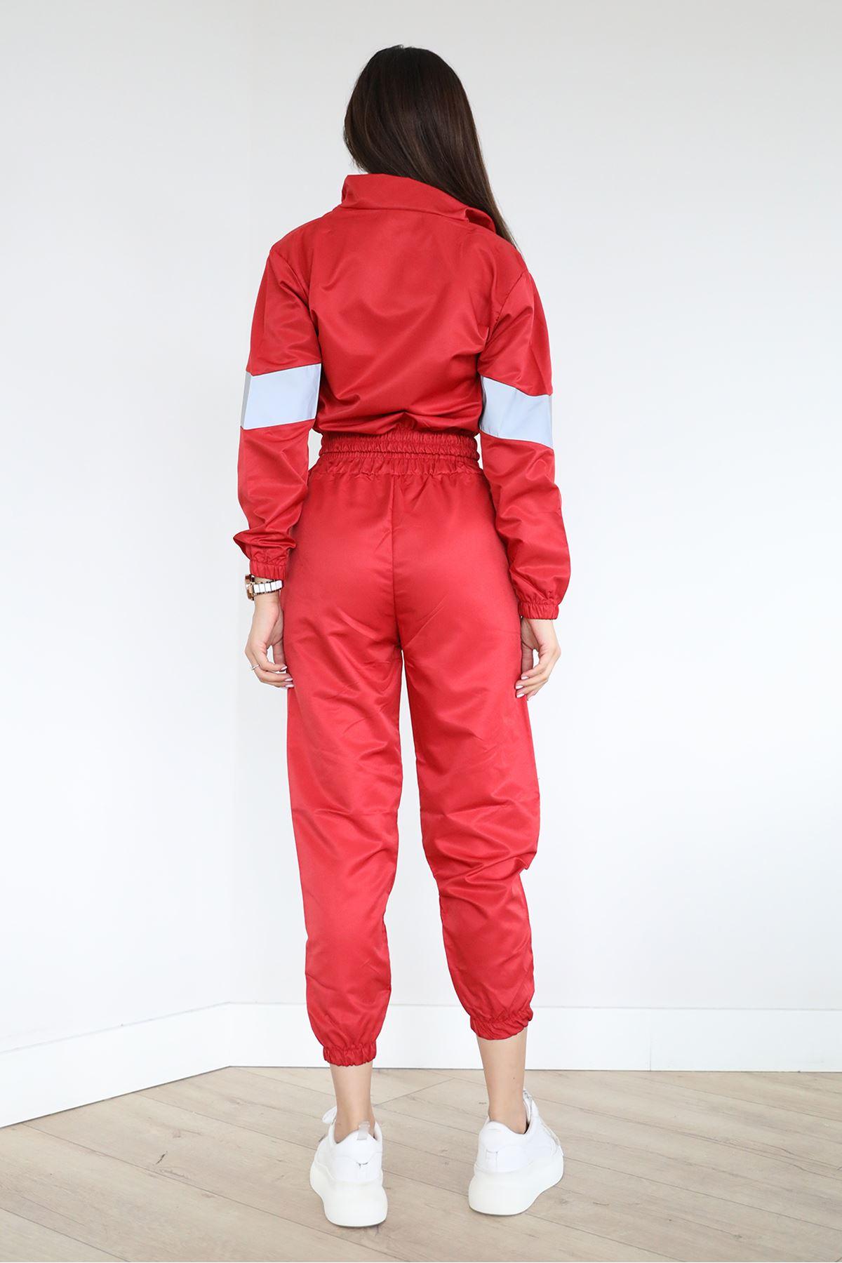 Gri Detay Reflektör Eşofman Takım-Kırmızı
