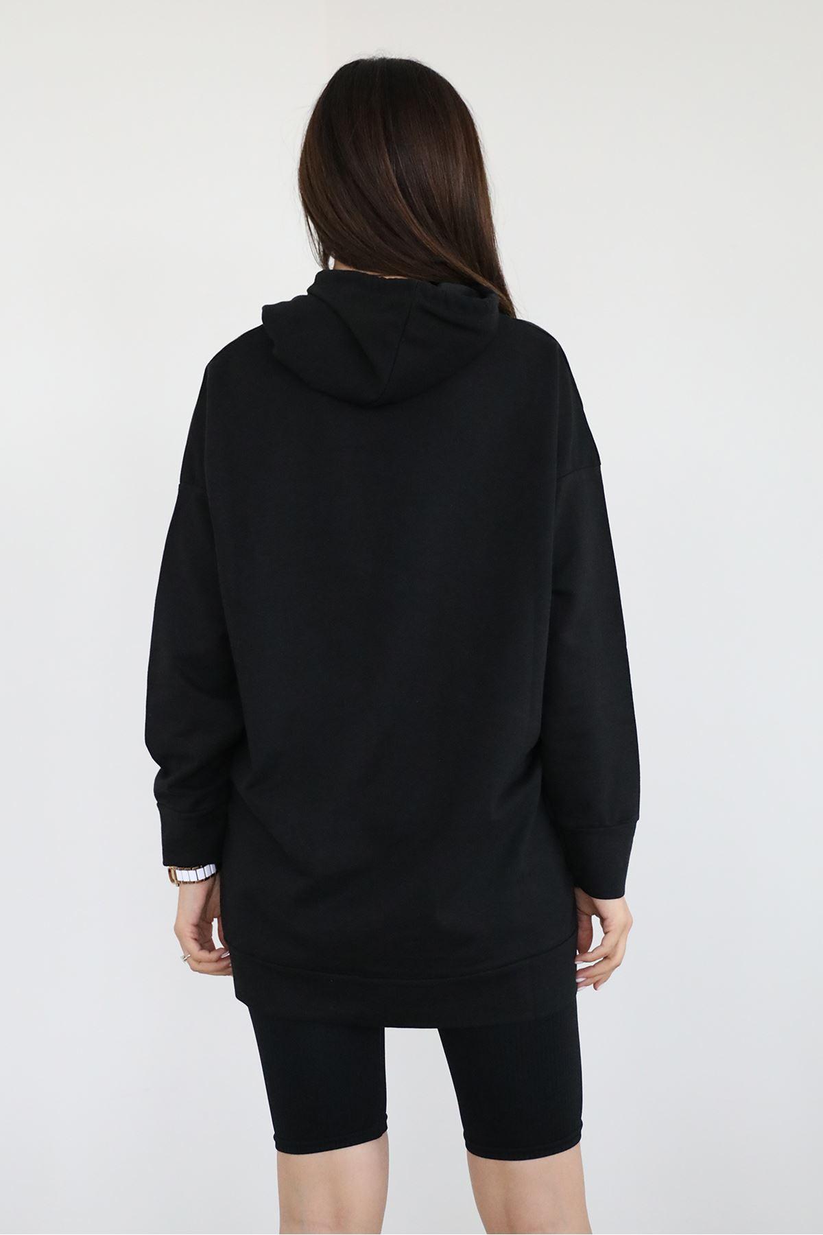 Cep Detay Sweatshirt-Siyah