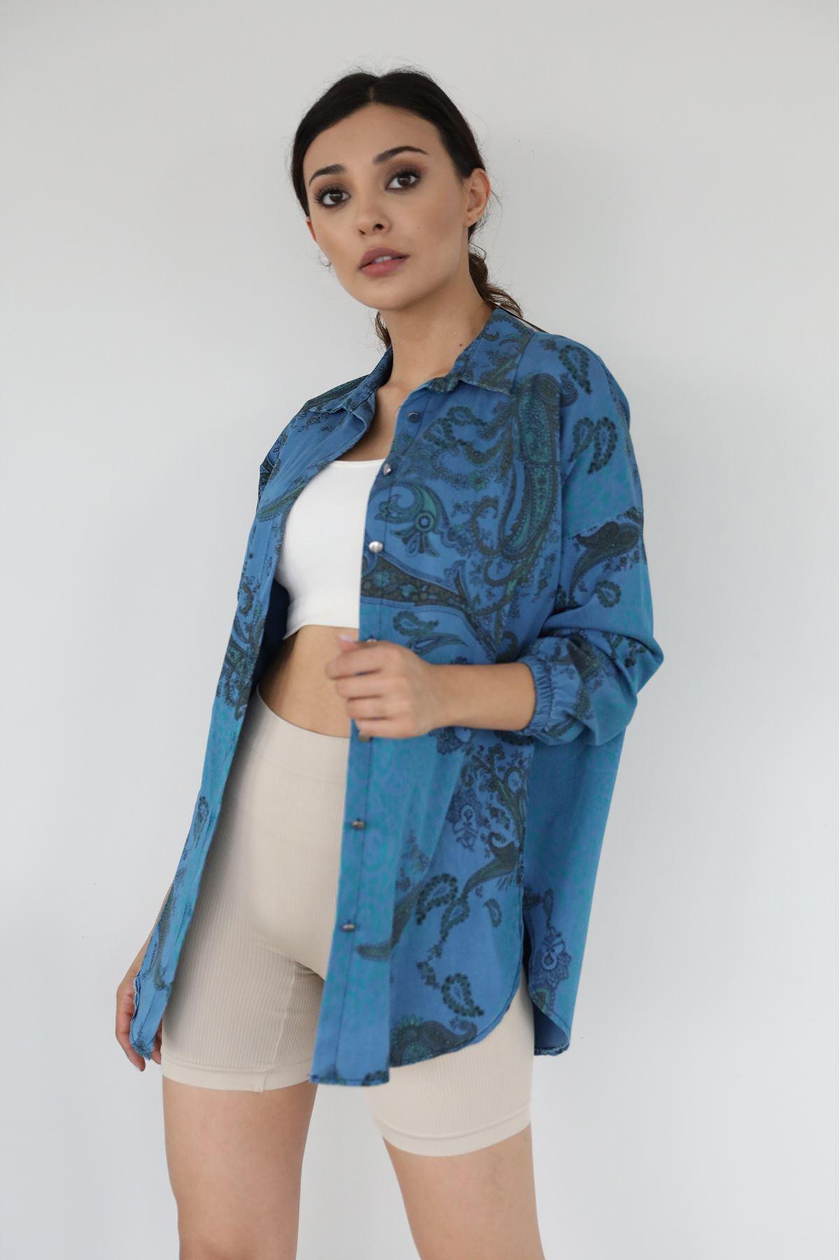 Ön Düğmeli Tunik-Mavi