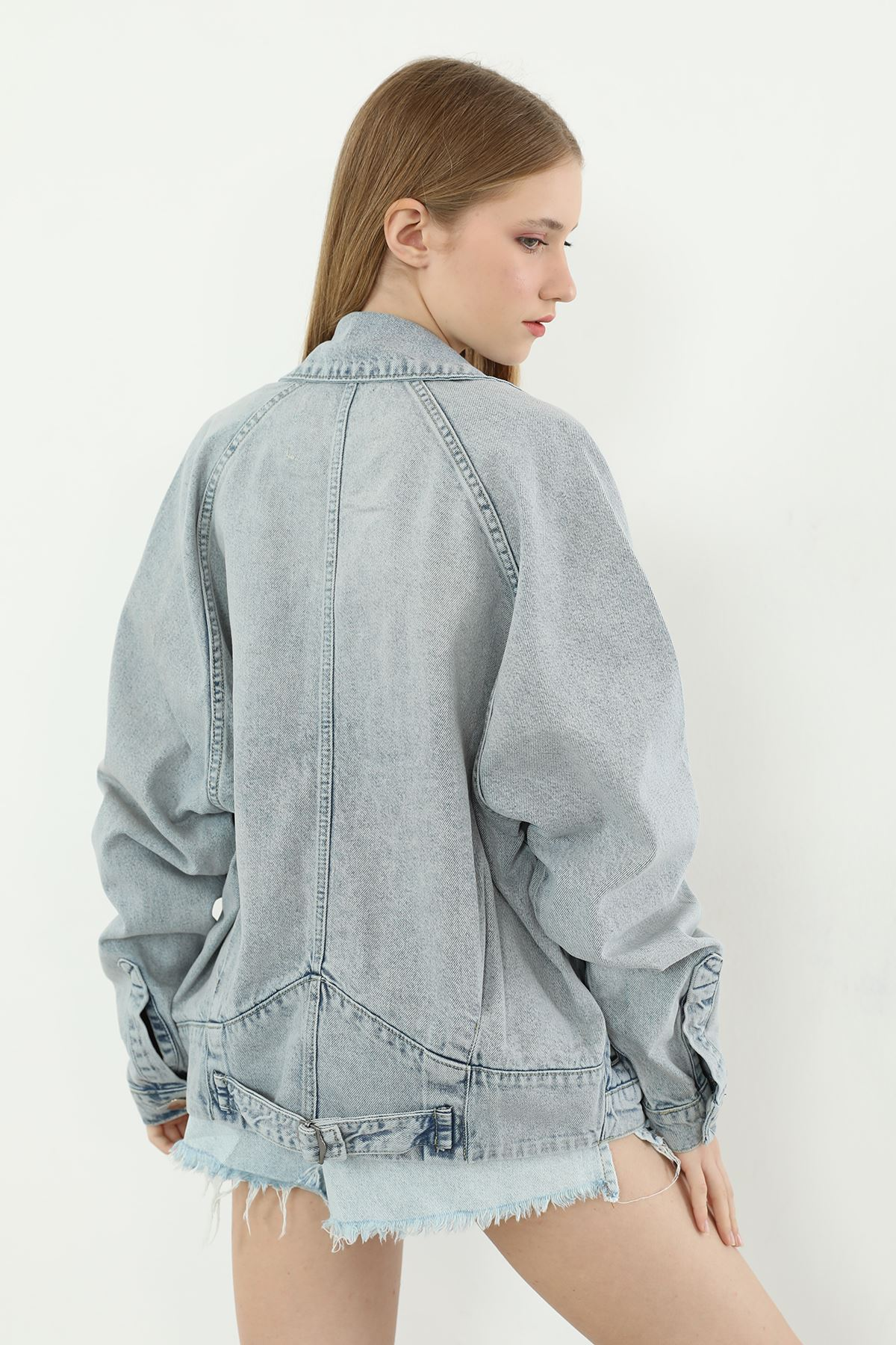 Oversize Kot Ceket-Mavi
