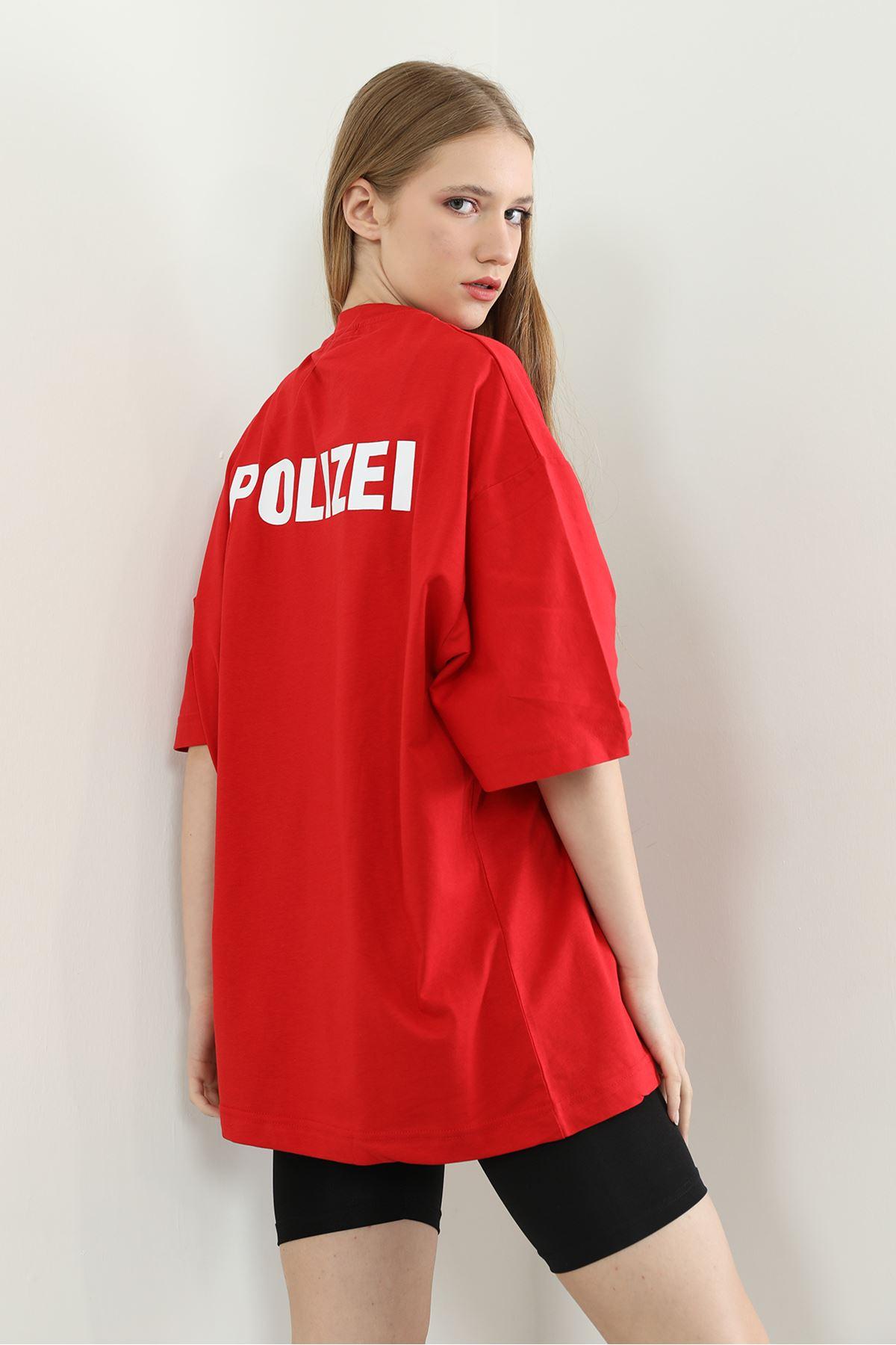 Baskılı Oversize T-shirt-Kırmızı