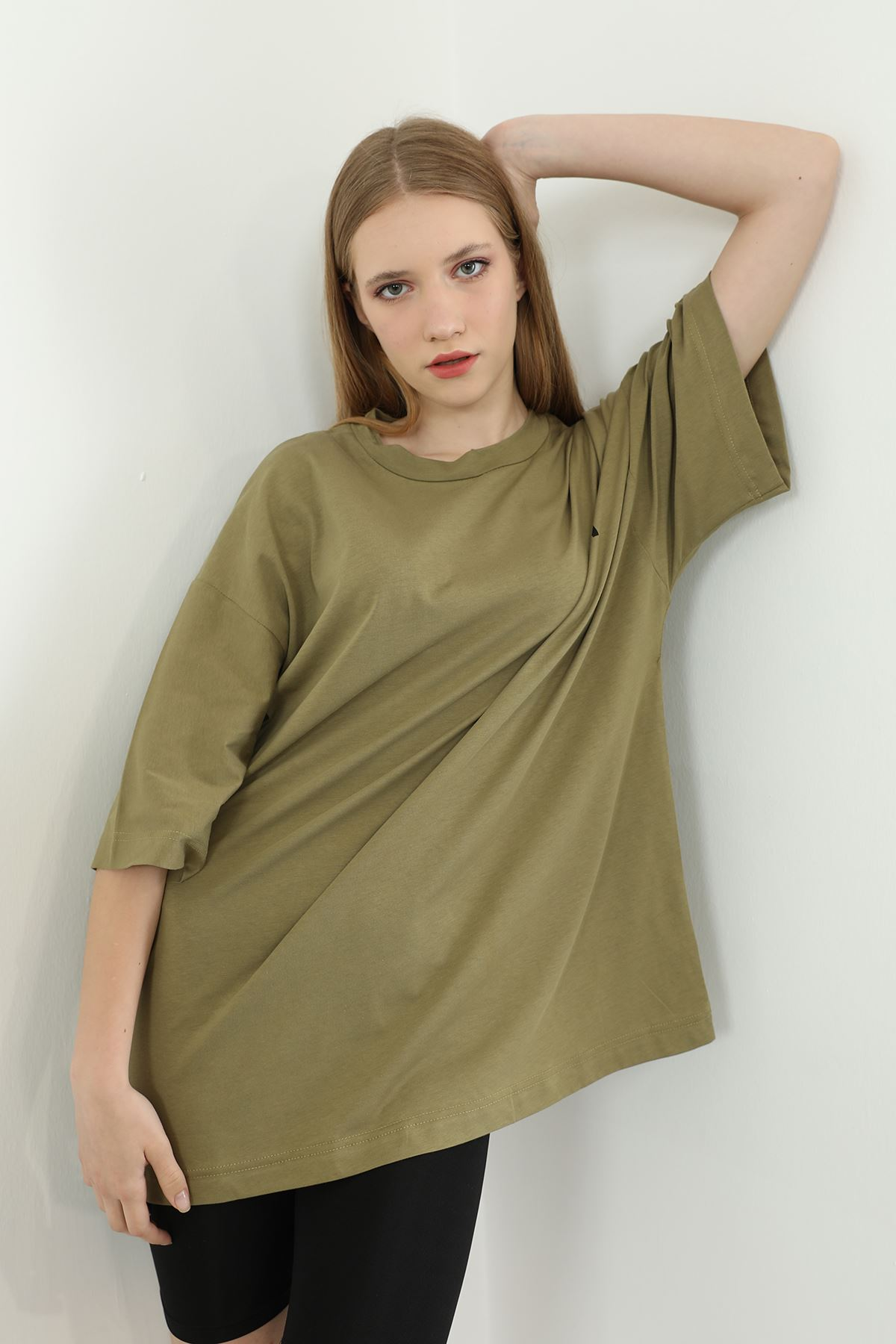 Baskılı Oversize T-shirt-Haki