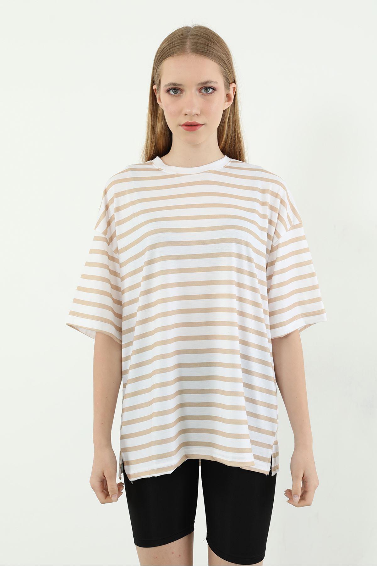 Çizgili Salaş T-shirt-Bej