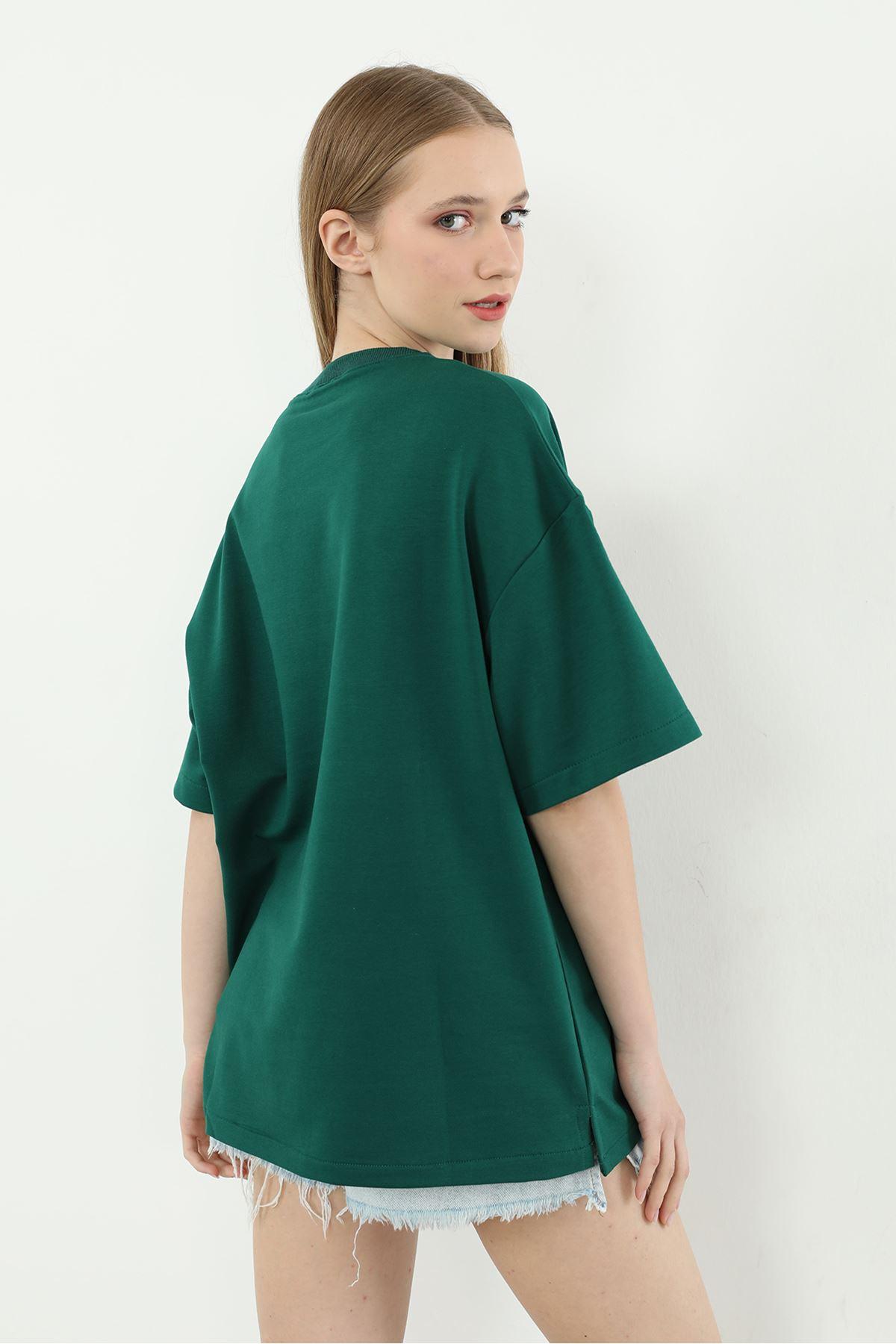 Basıc Kadın T-shirt-Yeşil