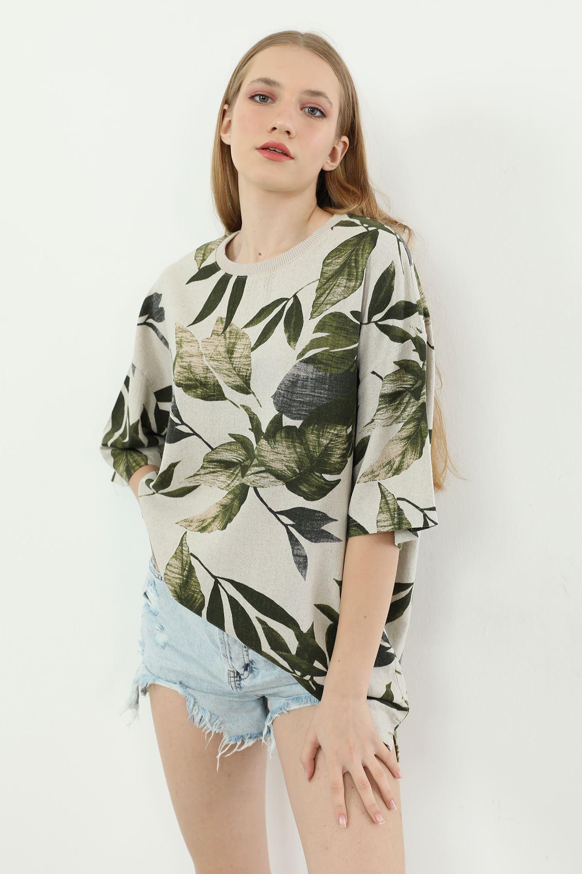 Desenli Salaş T-shirt-Yeşil