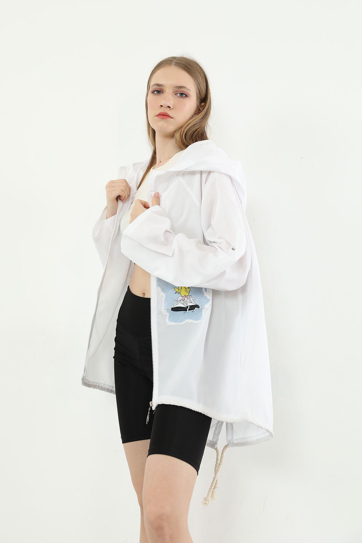 Baskılı Fermuarlı Ceket-Beyaz
