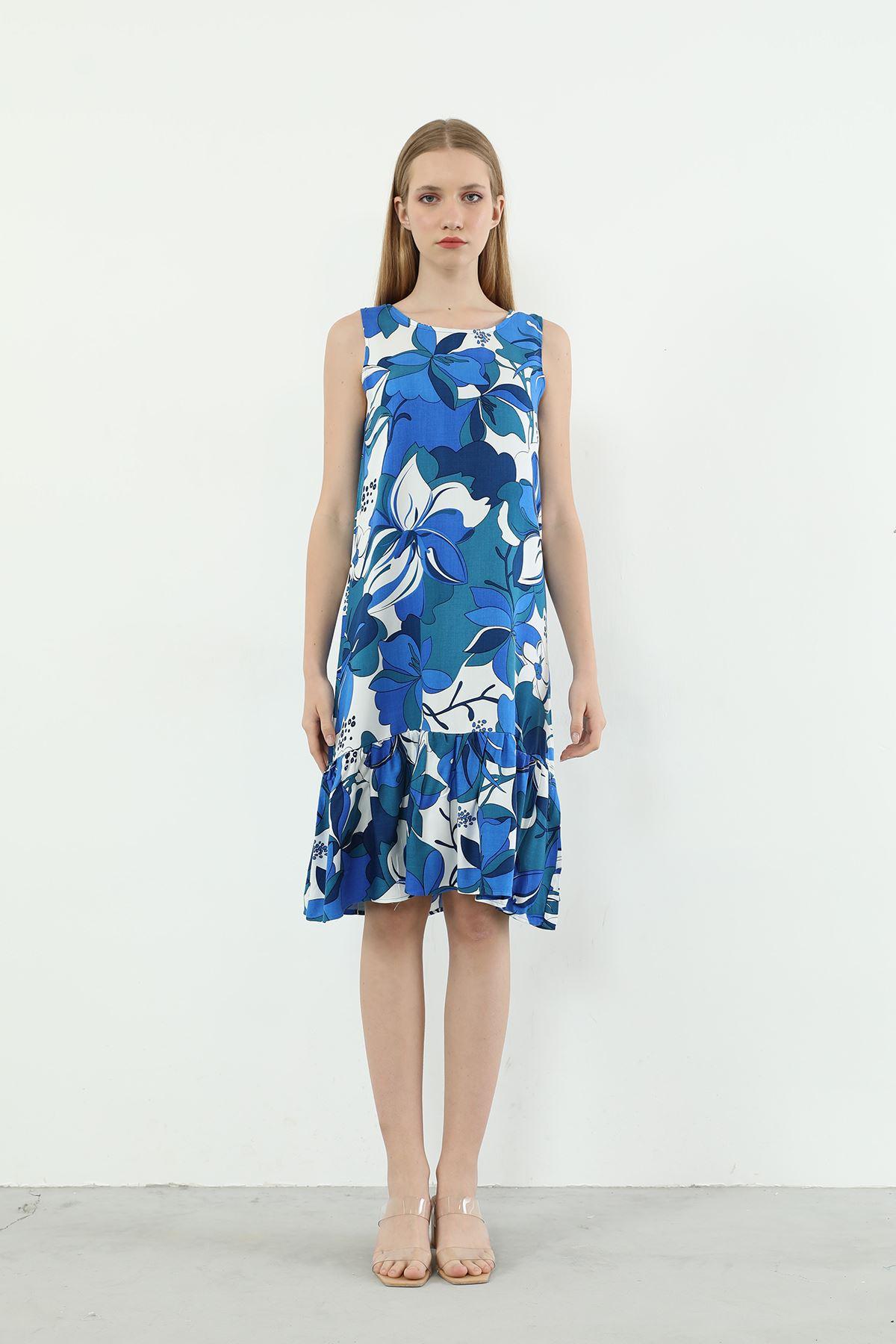Çiçek Desen Askılı Elbise-Saks