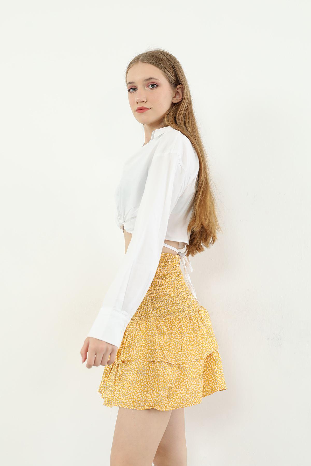 Desenli Gipeli Etek-Sarı
