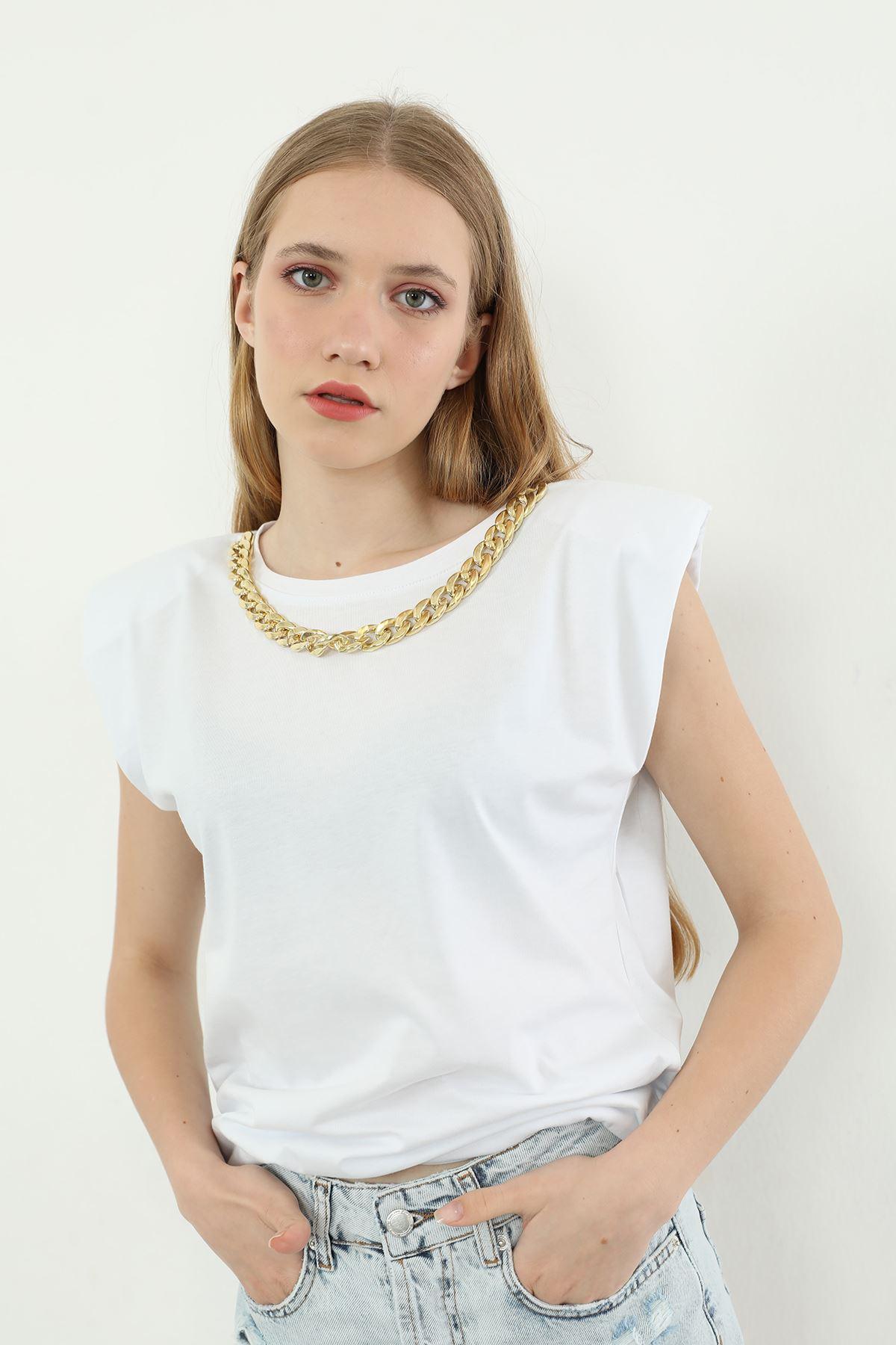 Vatkalı T-shirt-Beyaz
