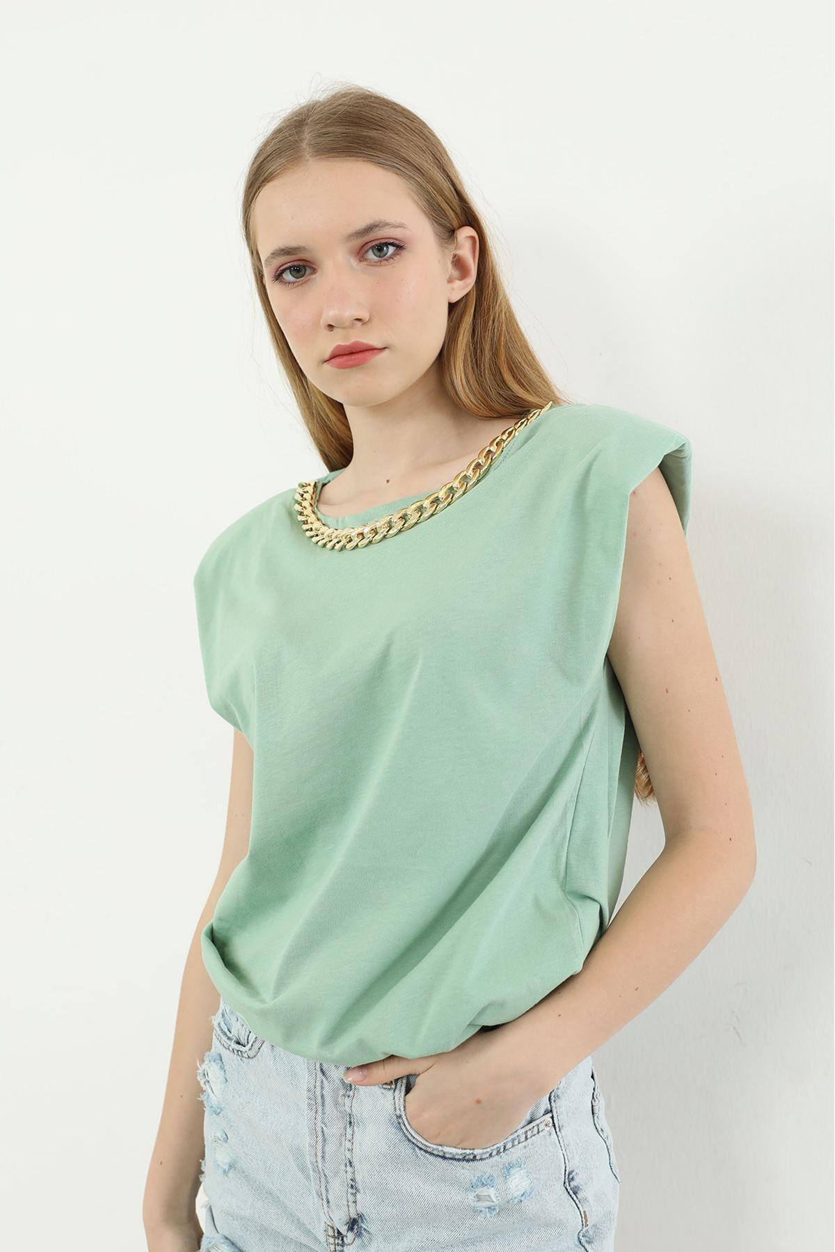 Vatkalı T-shirt-Mint