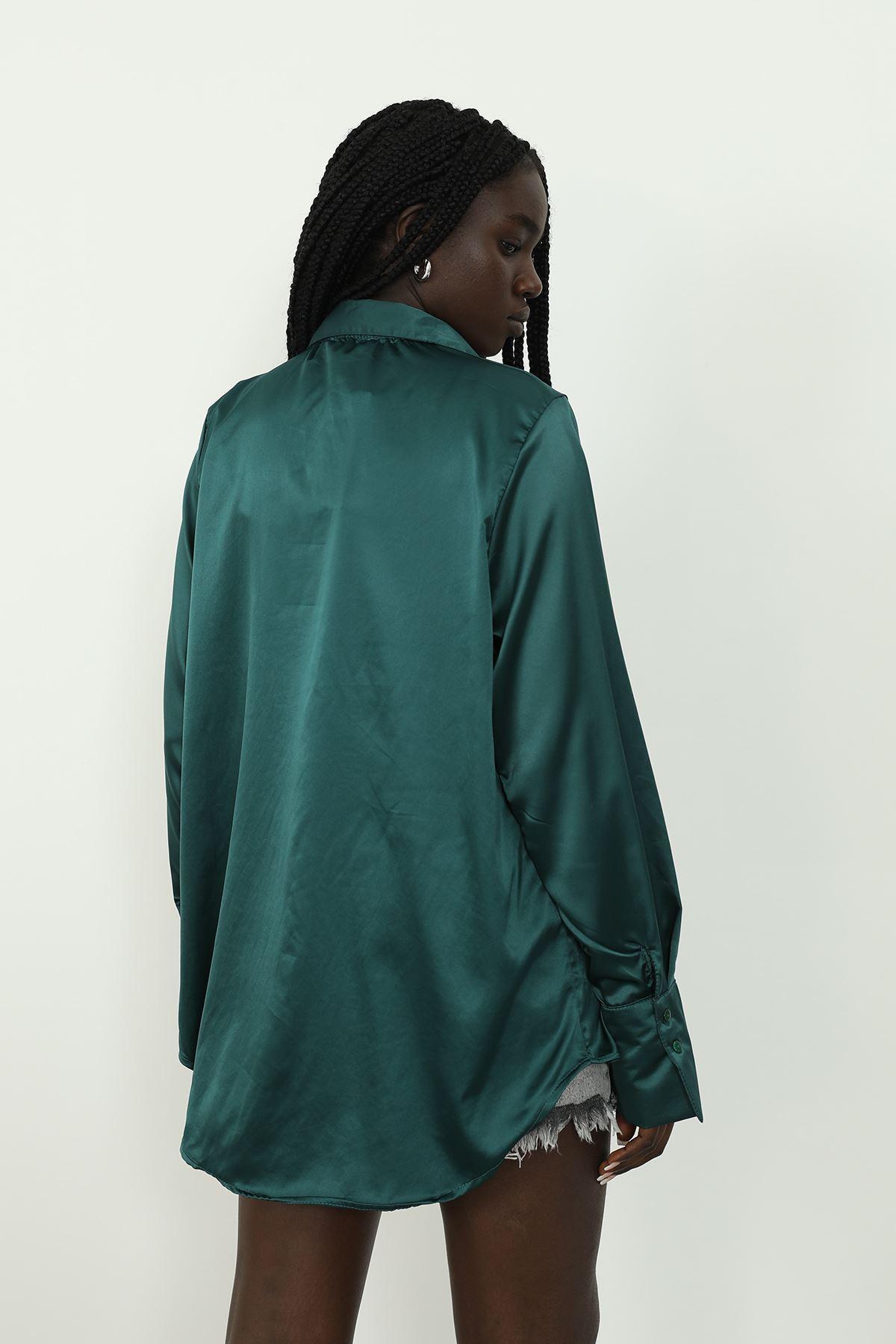 Saten Gömlek-K.Yeşil