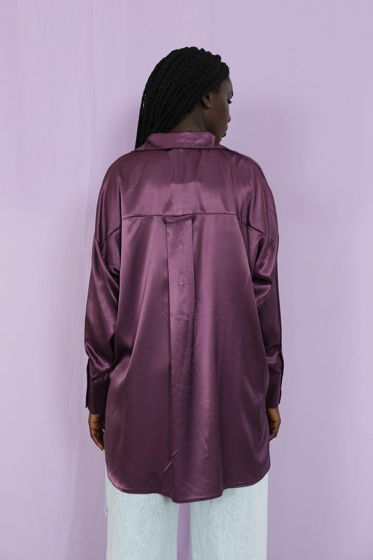 Oversize Saten Gömlek-Violet