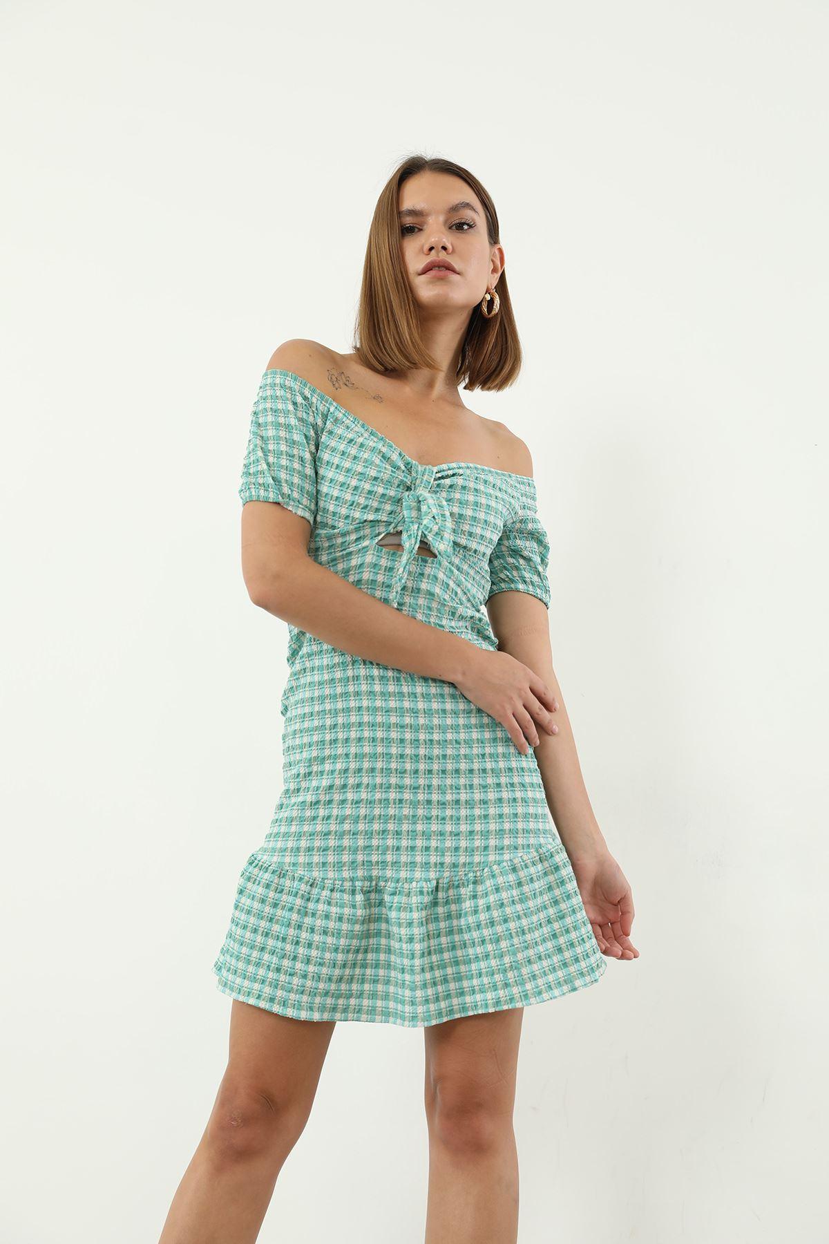 Bağlamalı Ekose Elbise-Yeşil