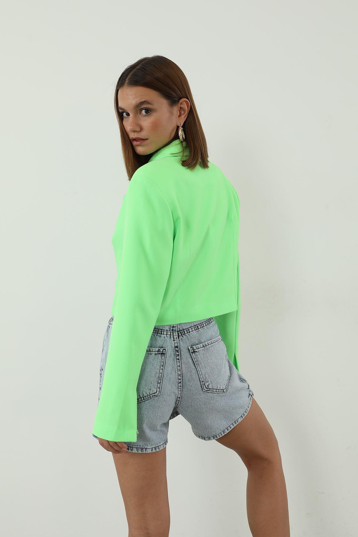 Kruvaze Crop Ceket-Yeşil