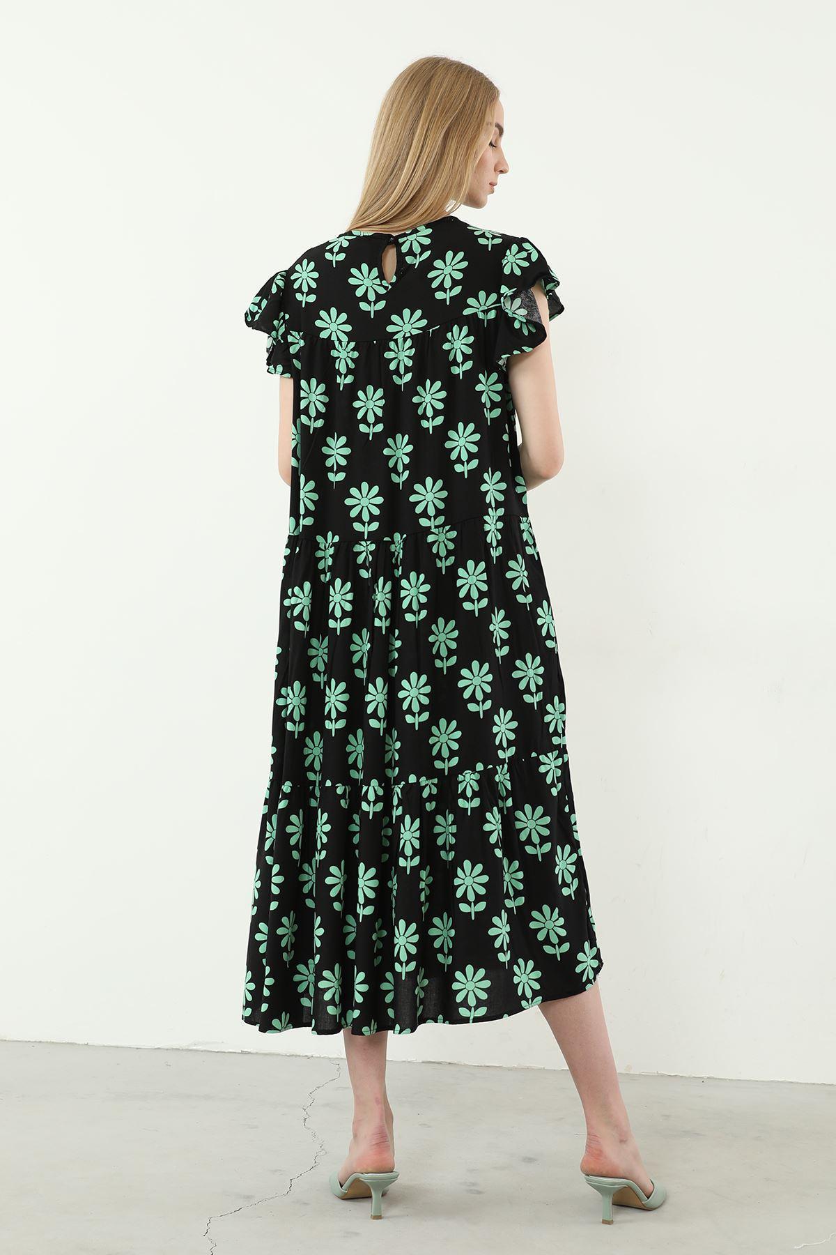 Salaş Desenli Elbise-Siyah