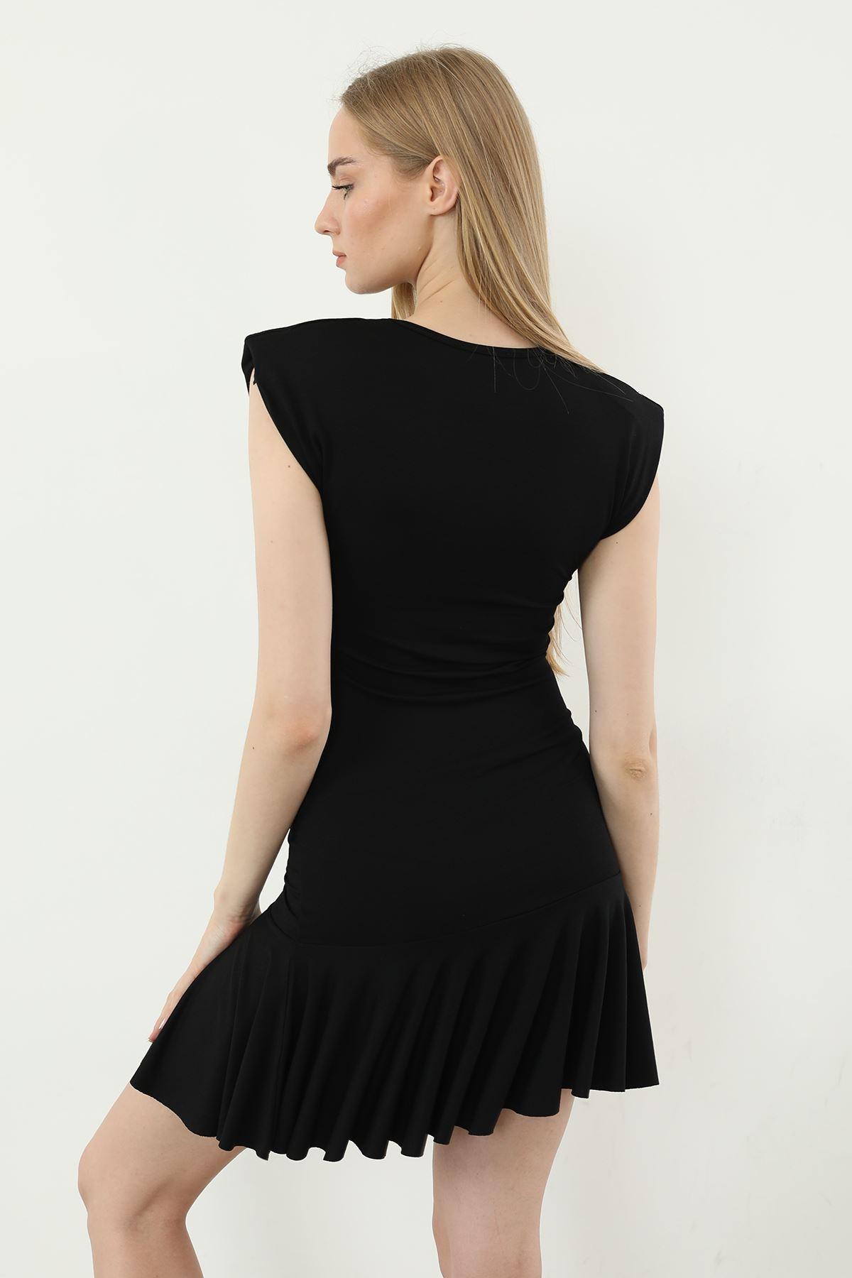 Vatkalı Elbise-Siyah