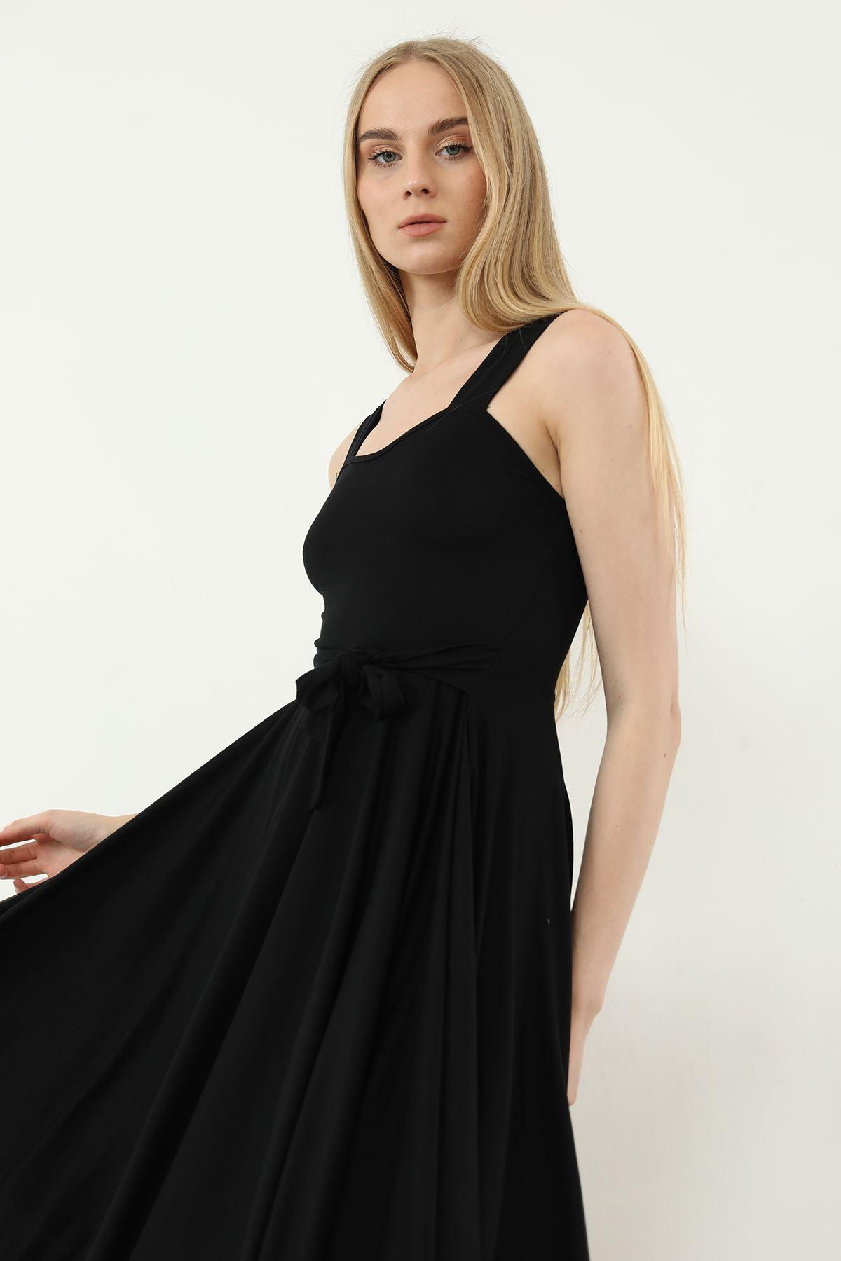 Kuşaklı Elbise-Siyah