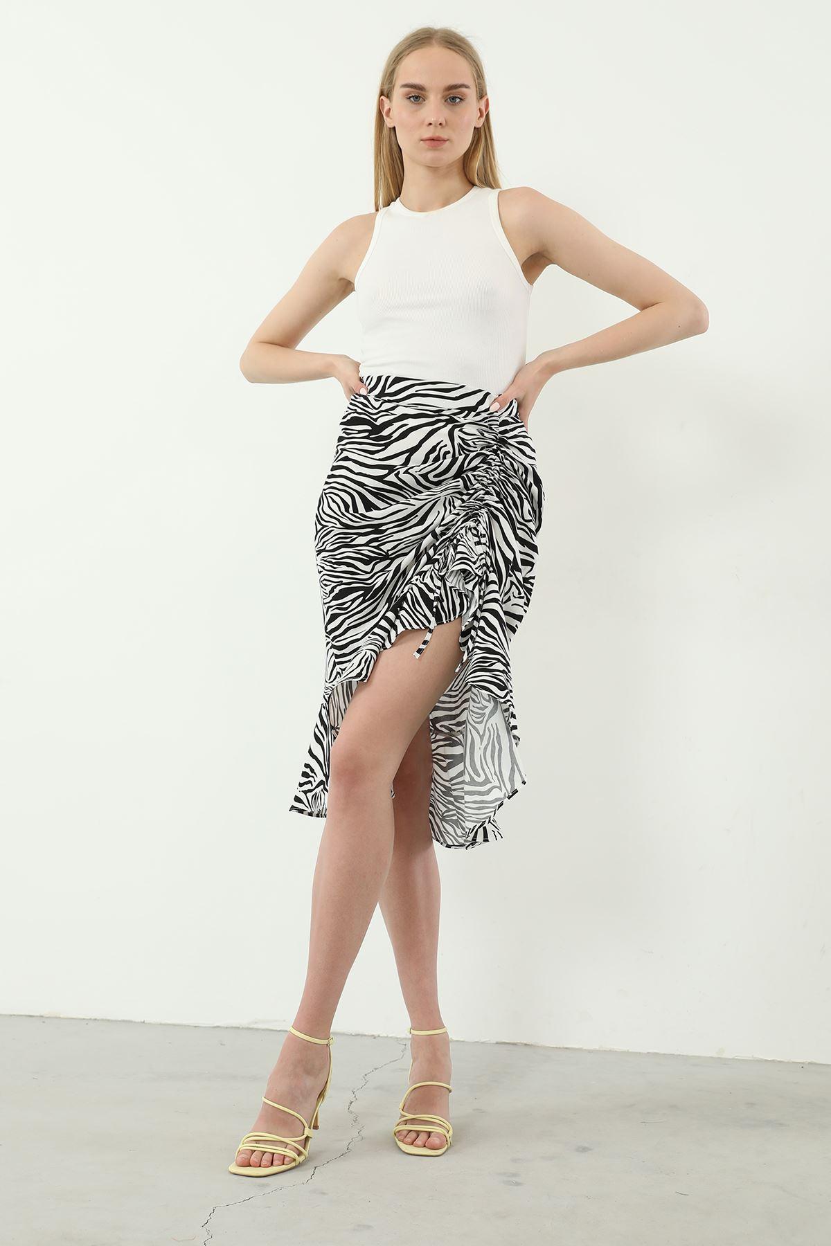 Zebra Desen Etek-Siyah