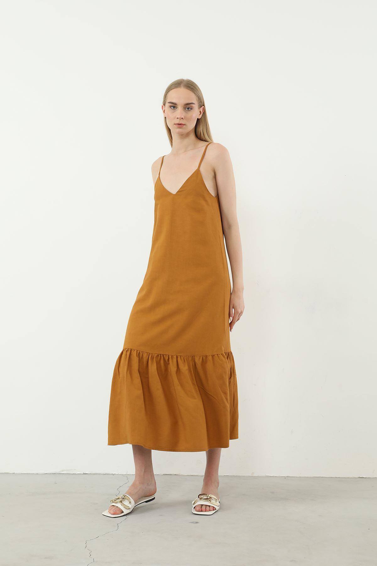 Askılı Elbise-Camel