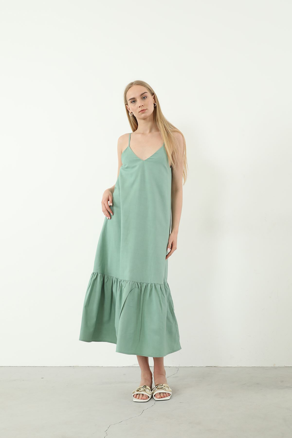 Askılı Elbise-Mint