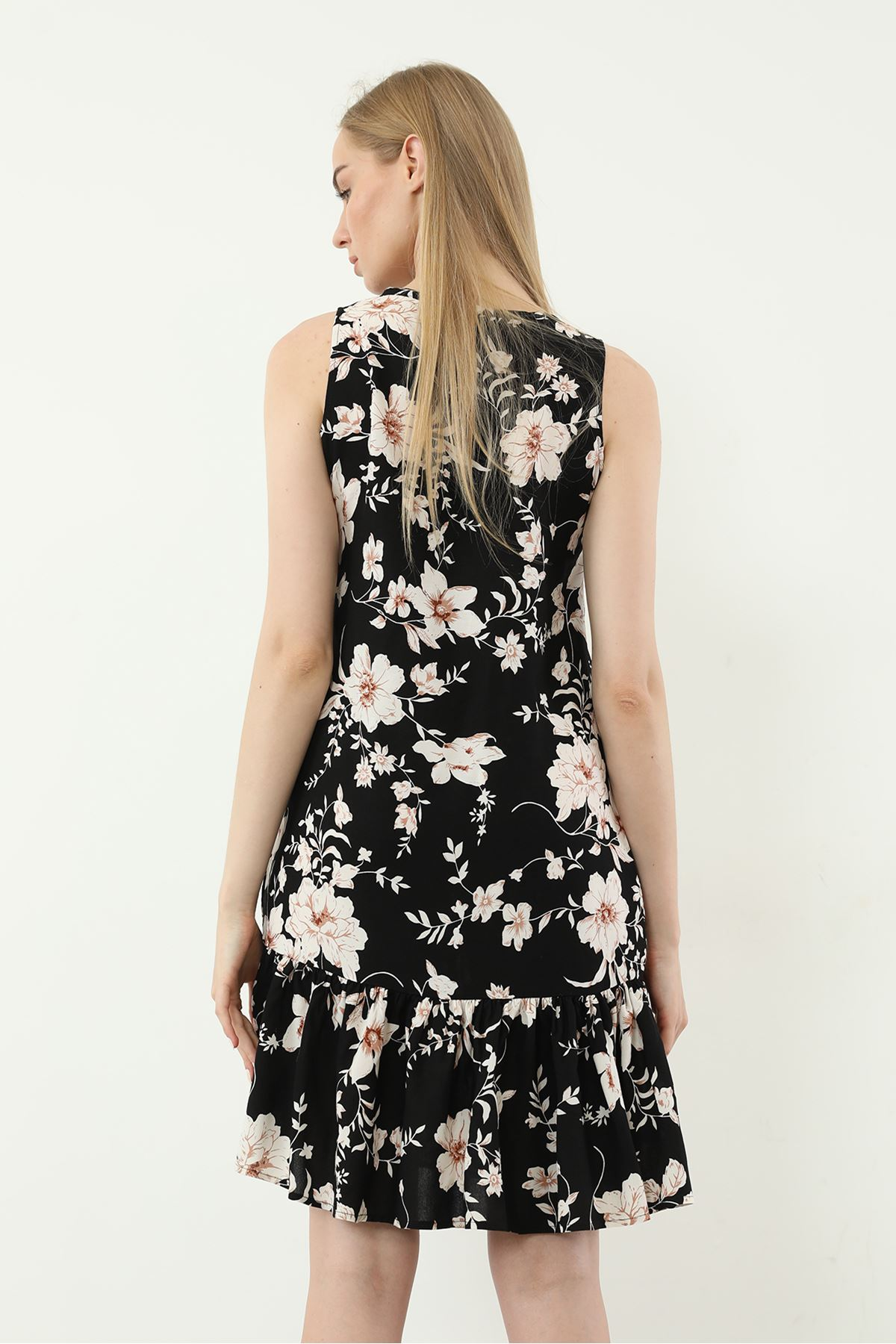 Sıfır Kol Desenli Elbise-Siyah