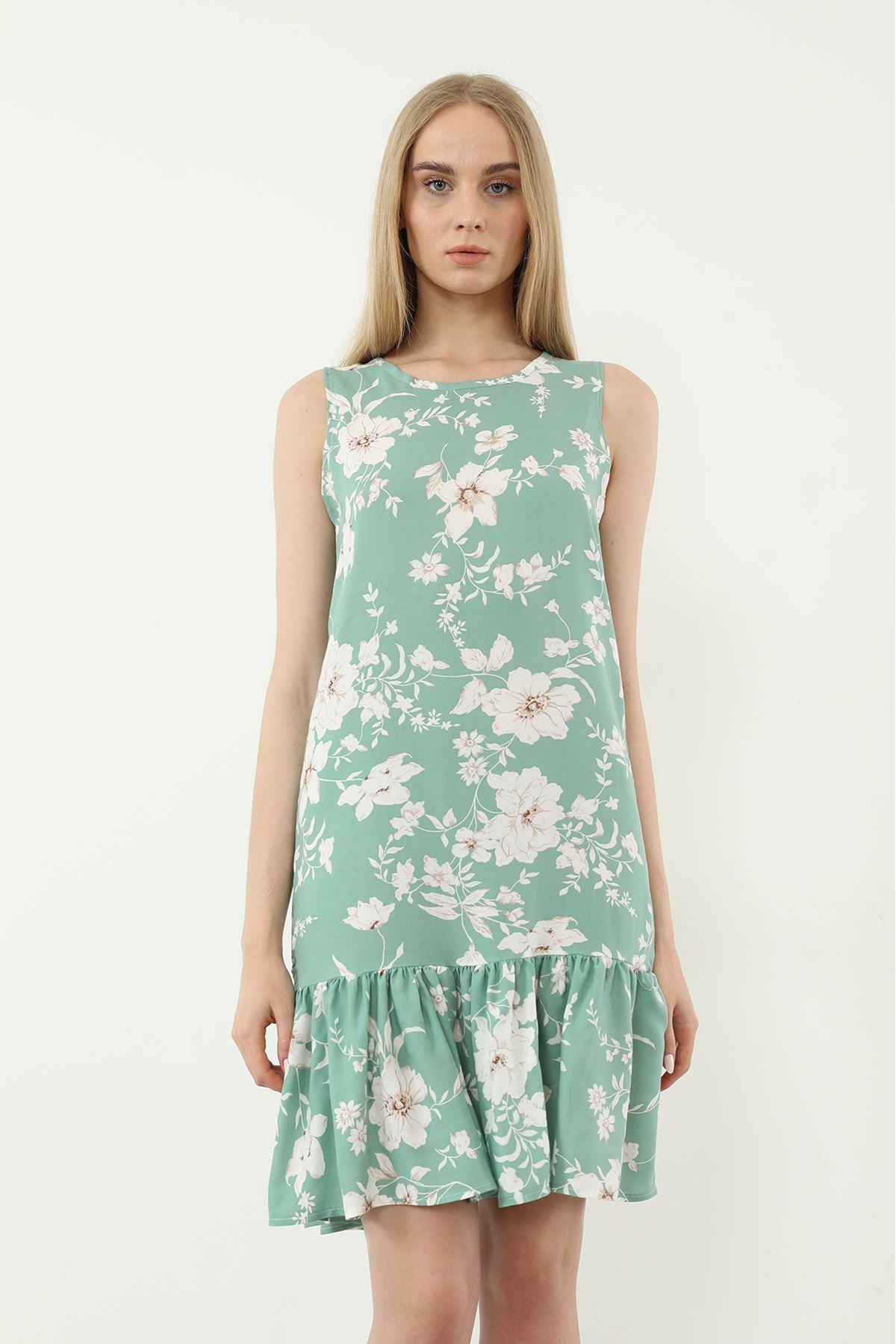 Sıfır Kol Desenli Elbise-Mint