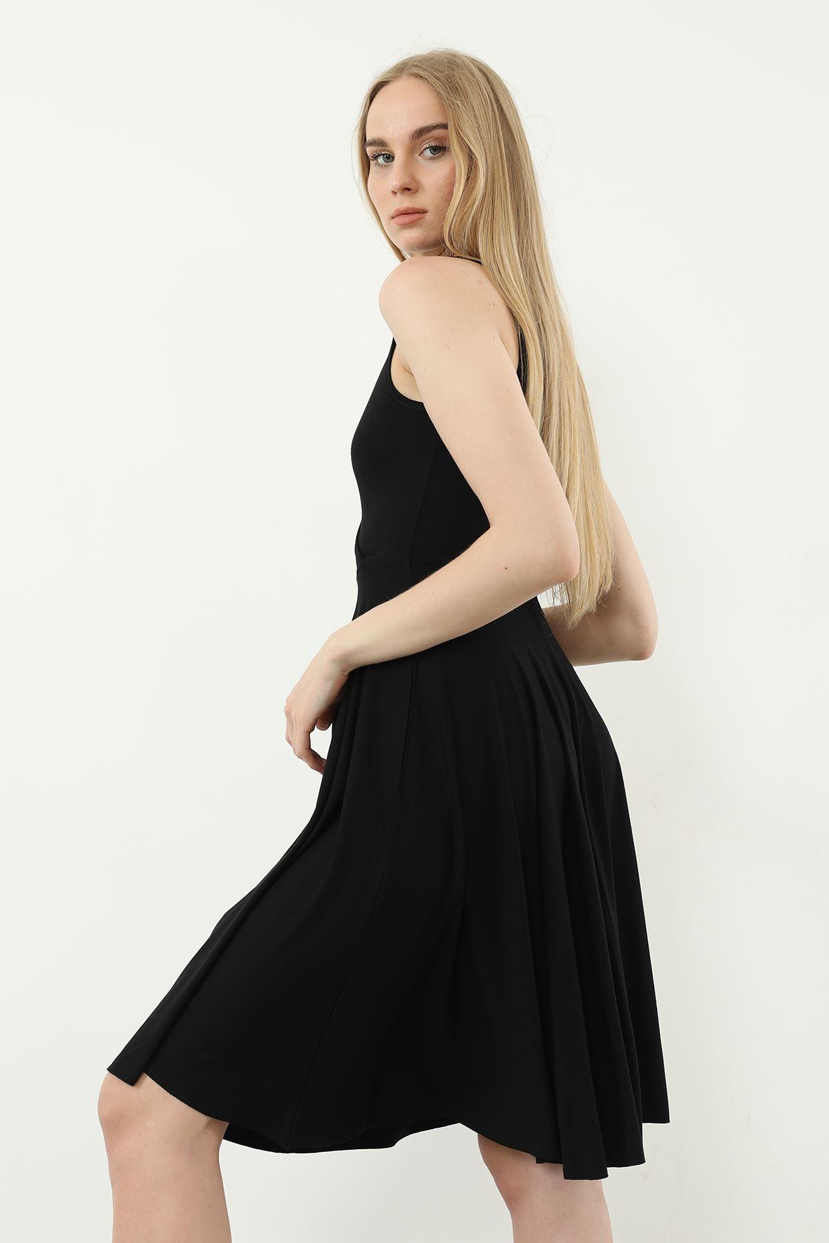 V Yaka Elbise-Siyah