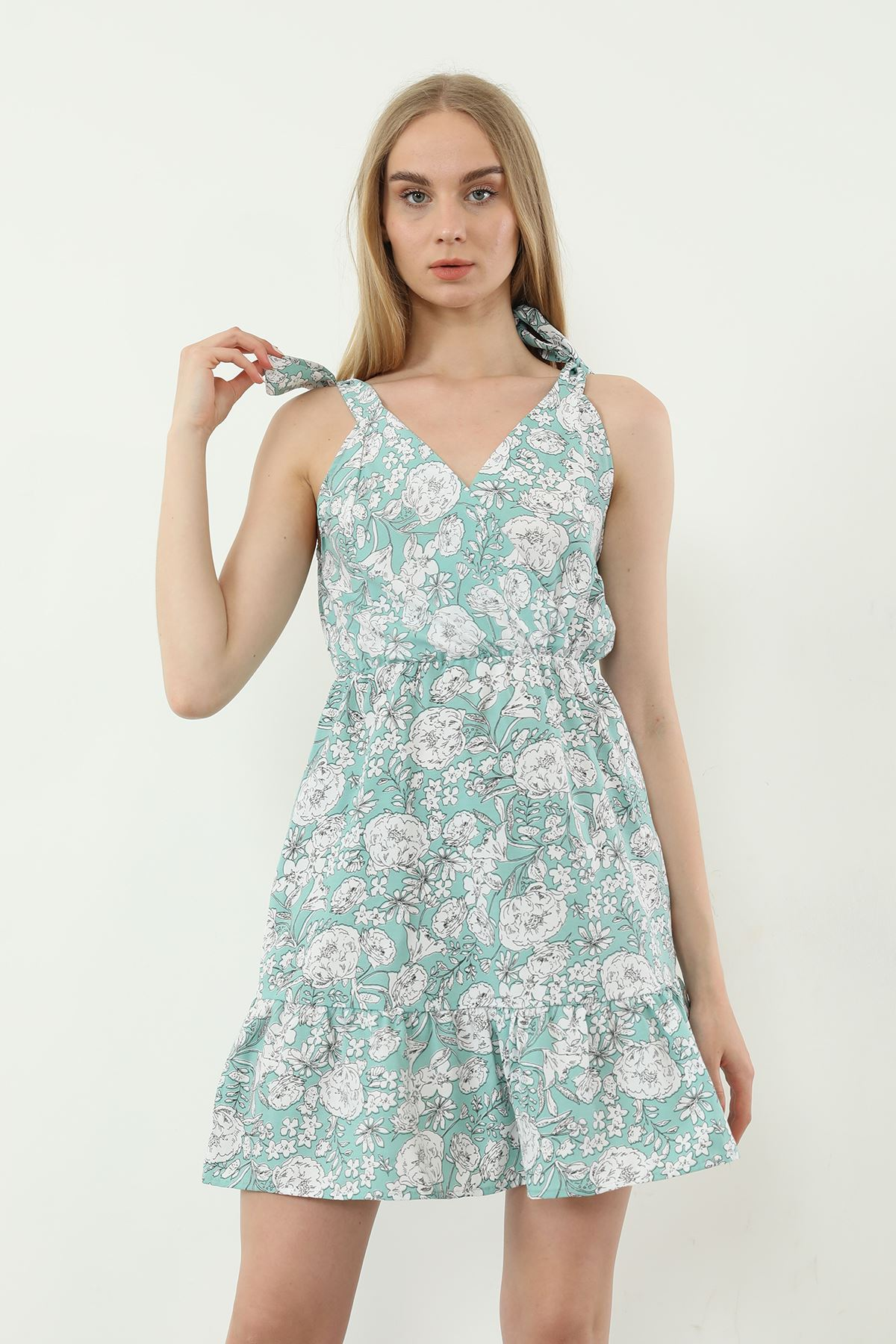 V Yaka Bağlamalı Elbise-Mint