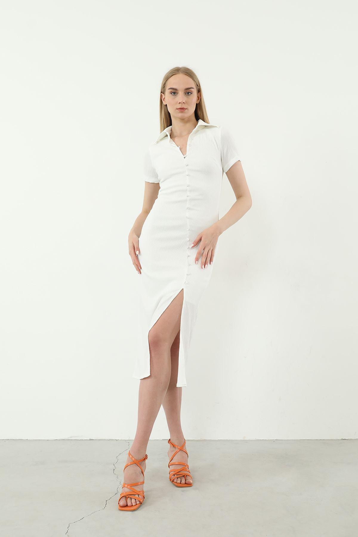 Düğmeli Yırtmaçlı Elbise-Ekru