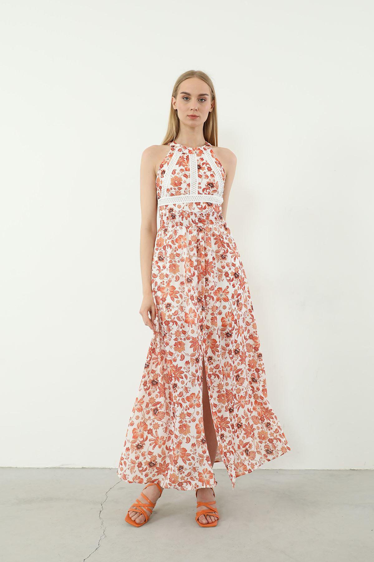 Kolsuz Yırtmaçlı Elbise-Oranj