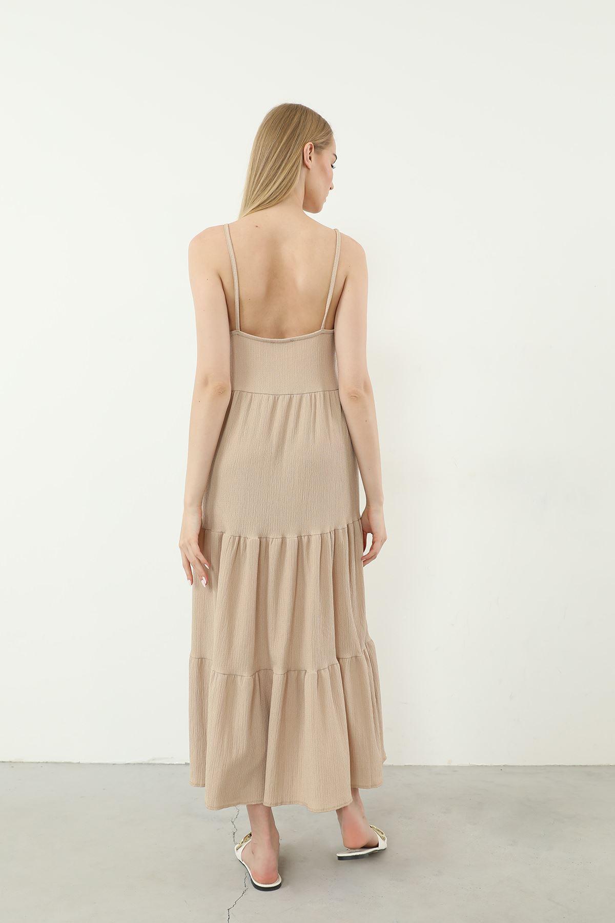 Askılı Uzun Elbise-Bej