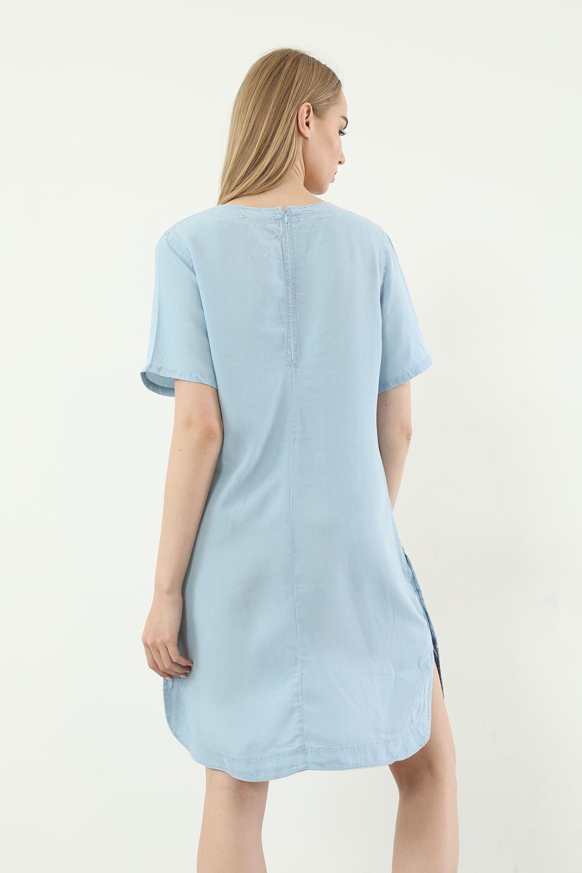 Kısa Kol Elbise-Mavi