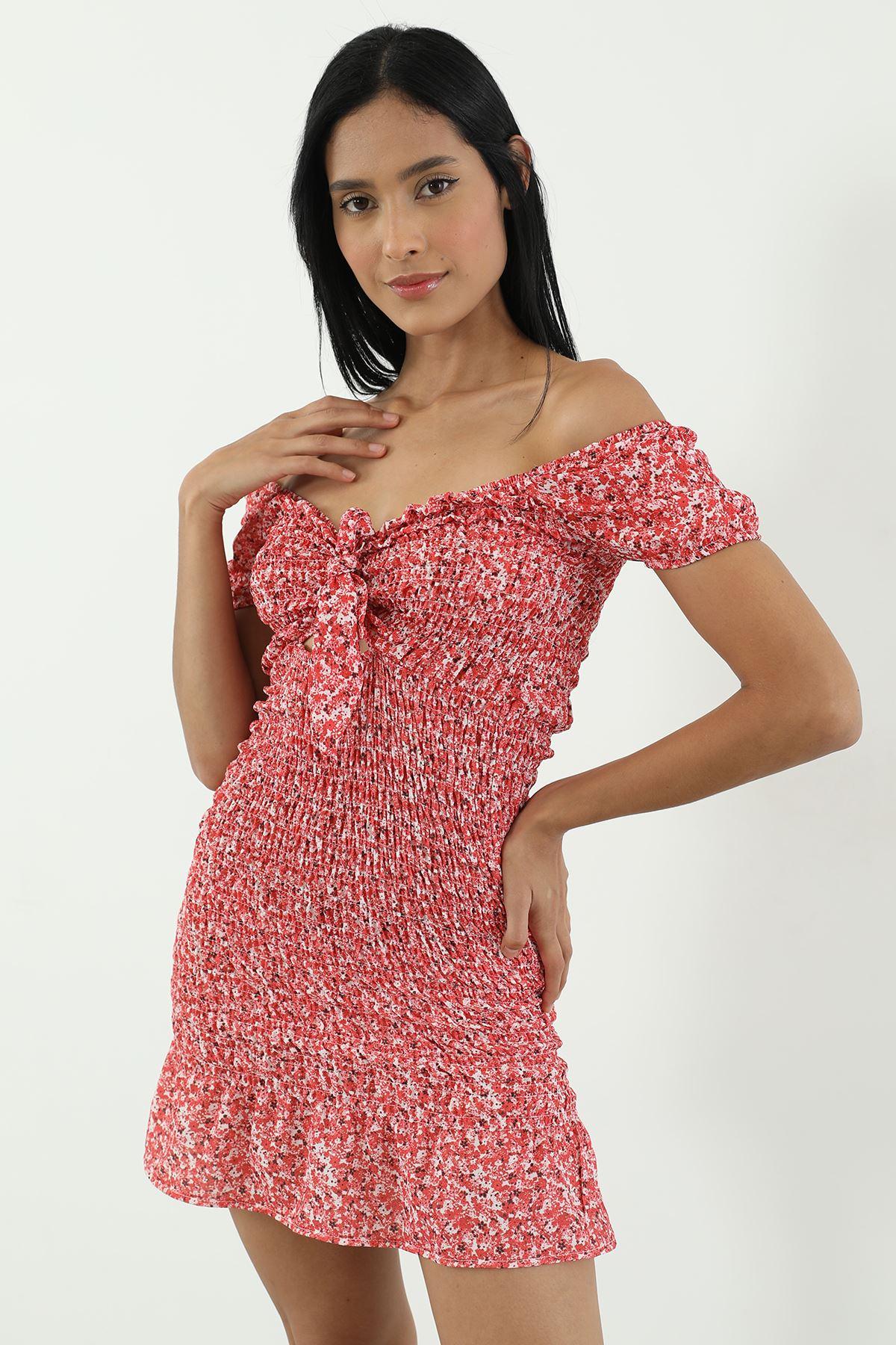 Gipeli Elbise-Kırmızı